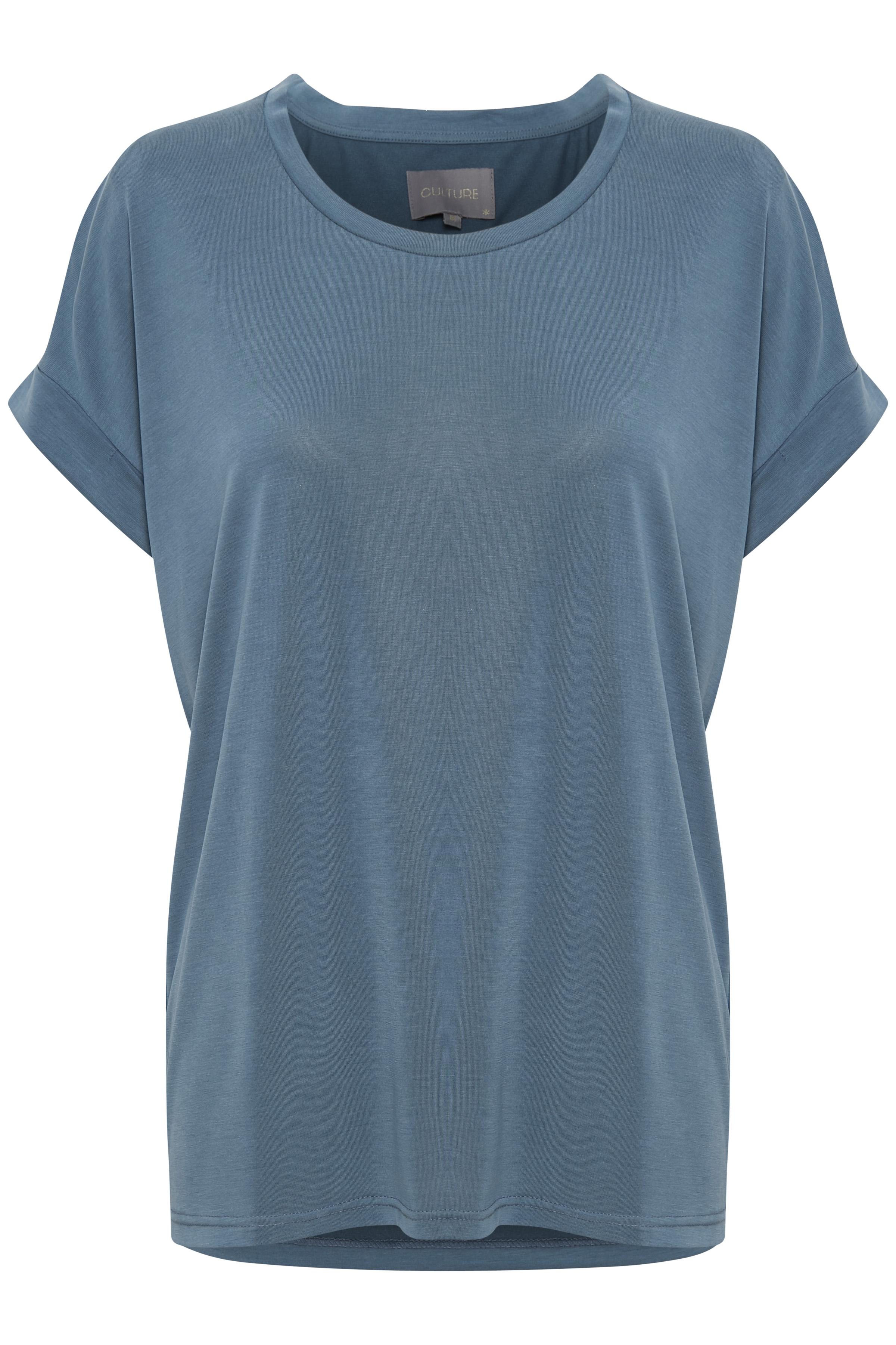 Image of Culture Dame Kortærmet T-shirt  - Støvet blå
