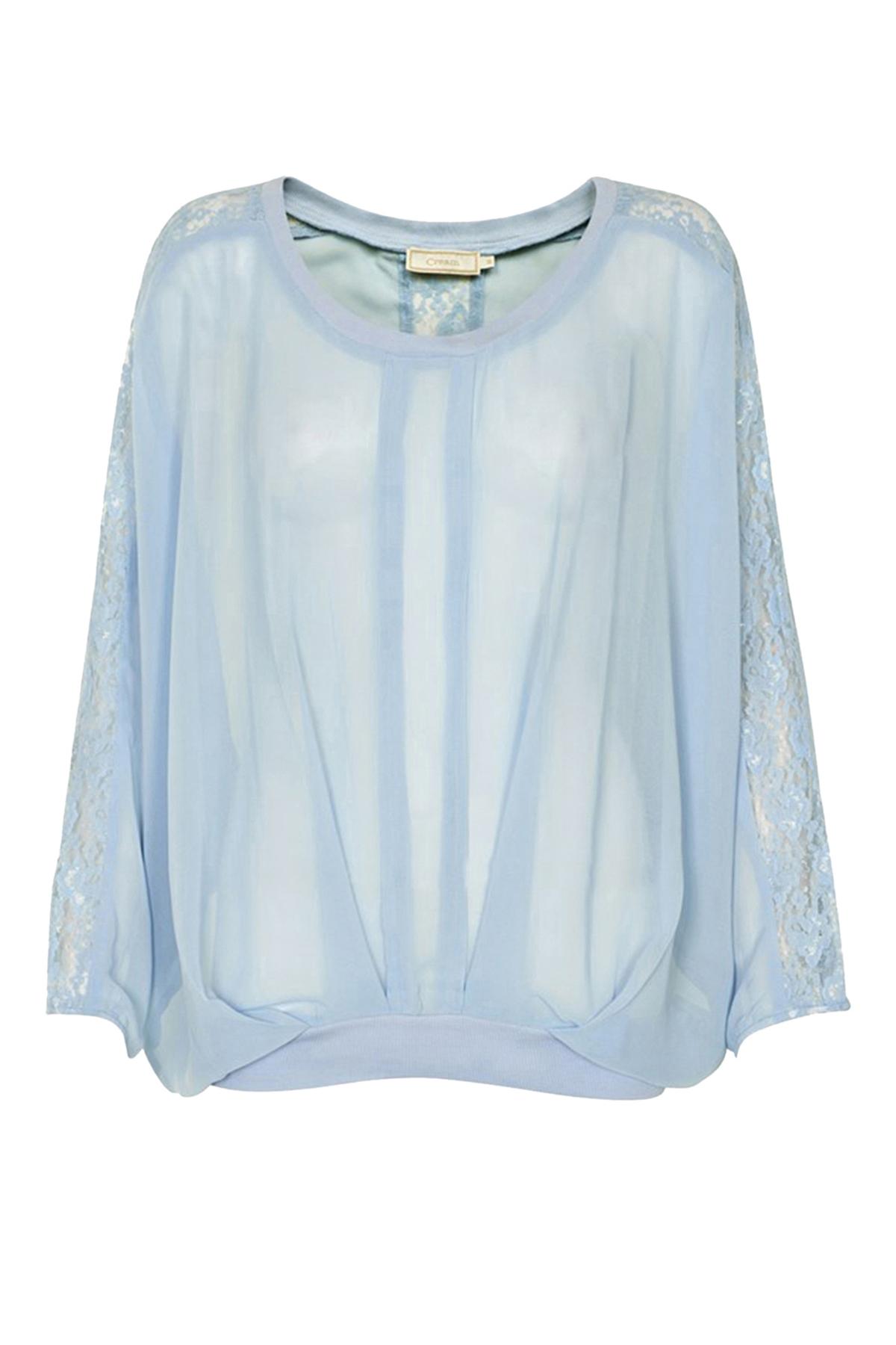 Image of Cream Dame Langærmet bluse - Støvet blå