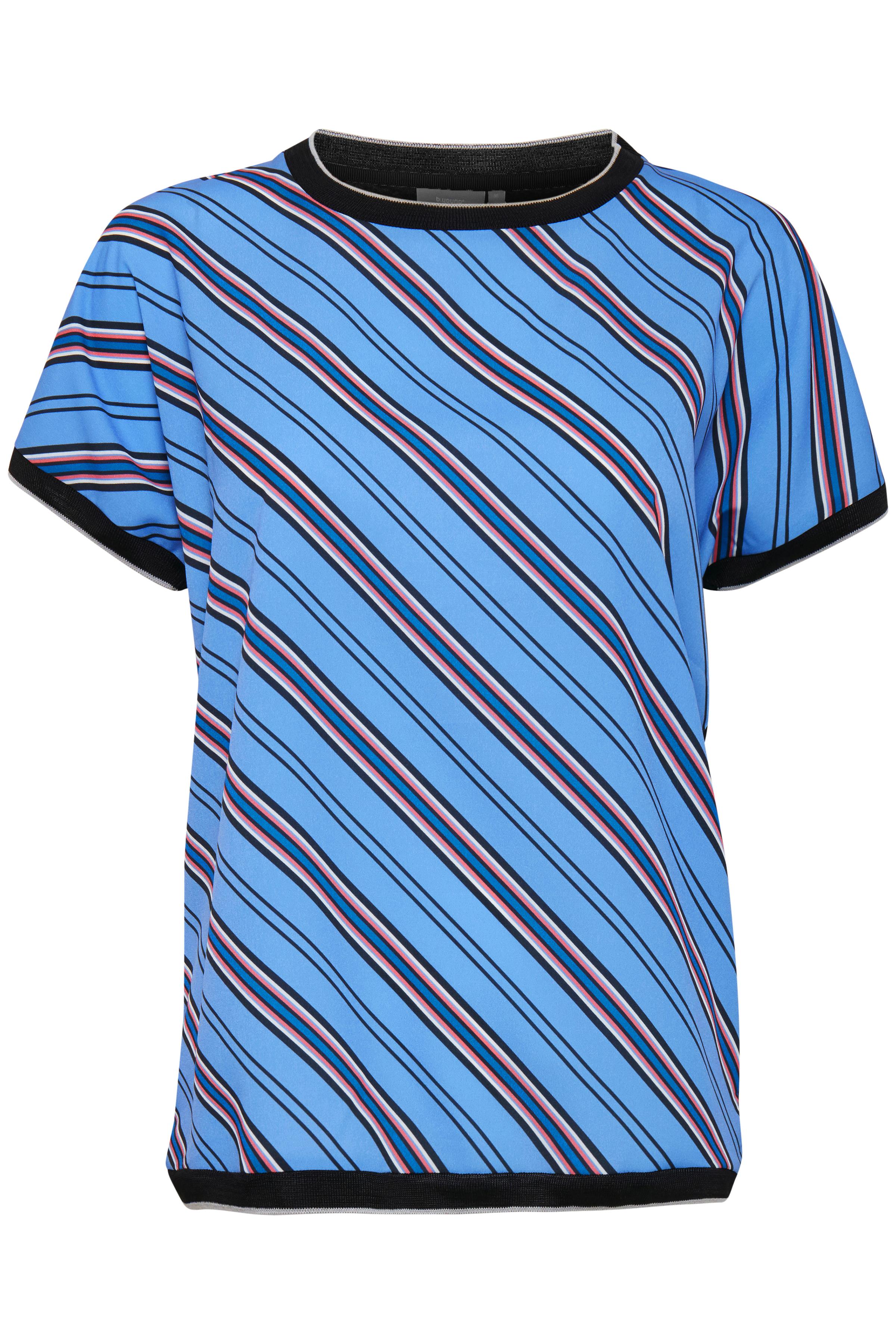 Image of b.young Dame Kortærmet T-shirt - Støvet blå/marineblå