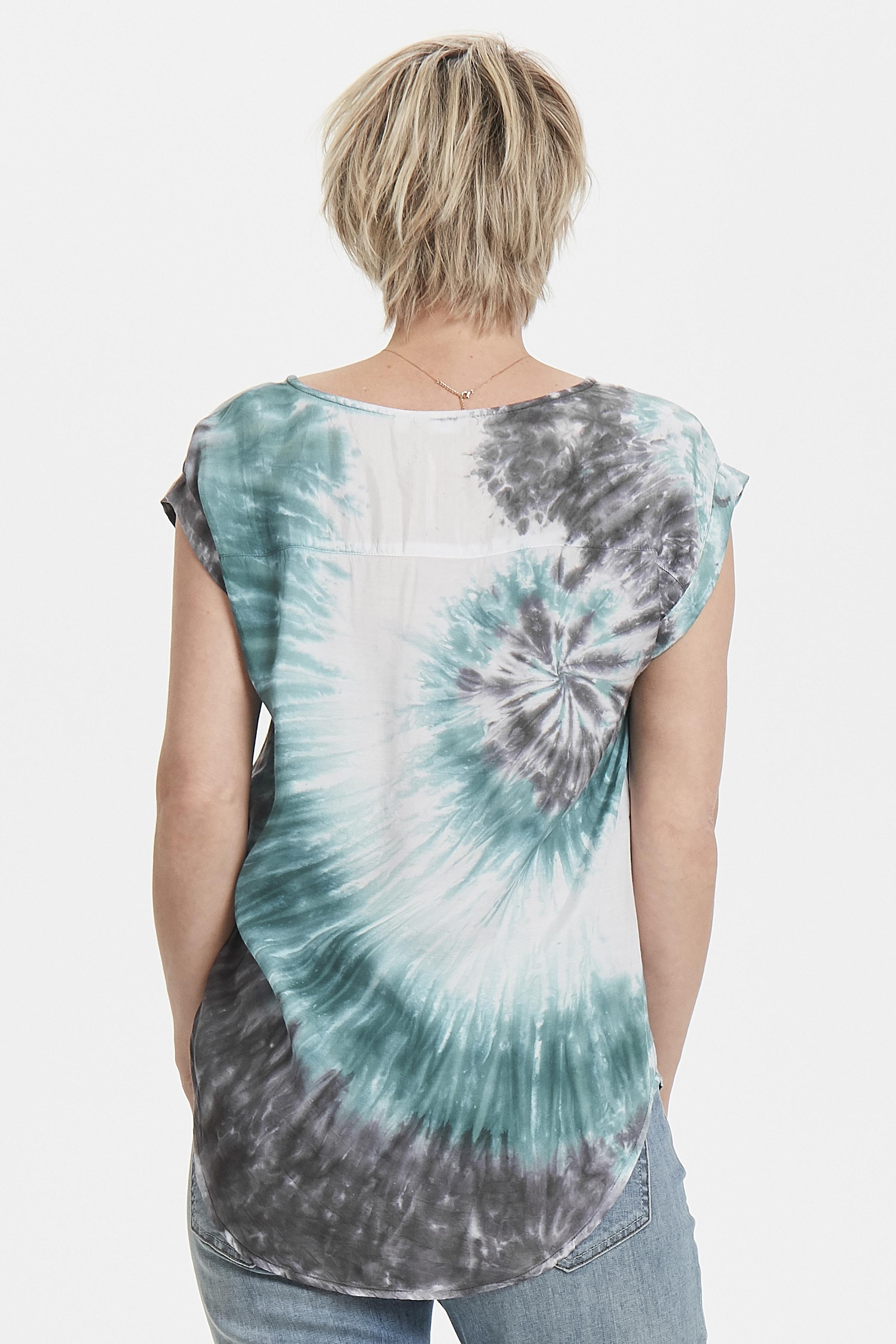 Støvet blå/mørkegrå Kortærmet bluse  fra Bon'A Parte – Køb Støvet blå/mørkegrå Kortærmet bluse  fra str. S-2XL her