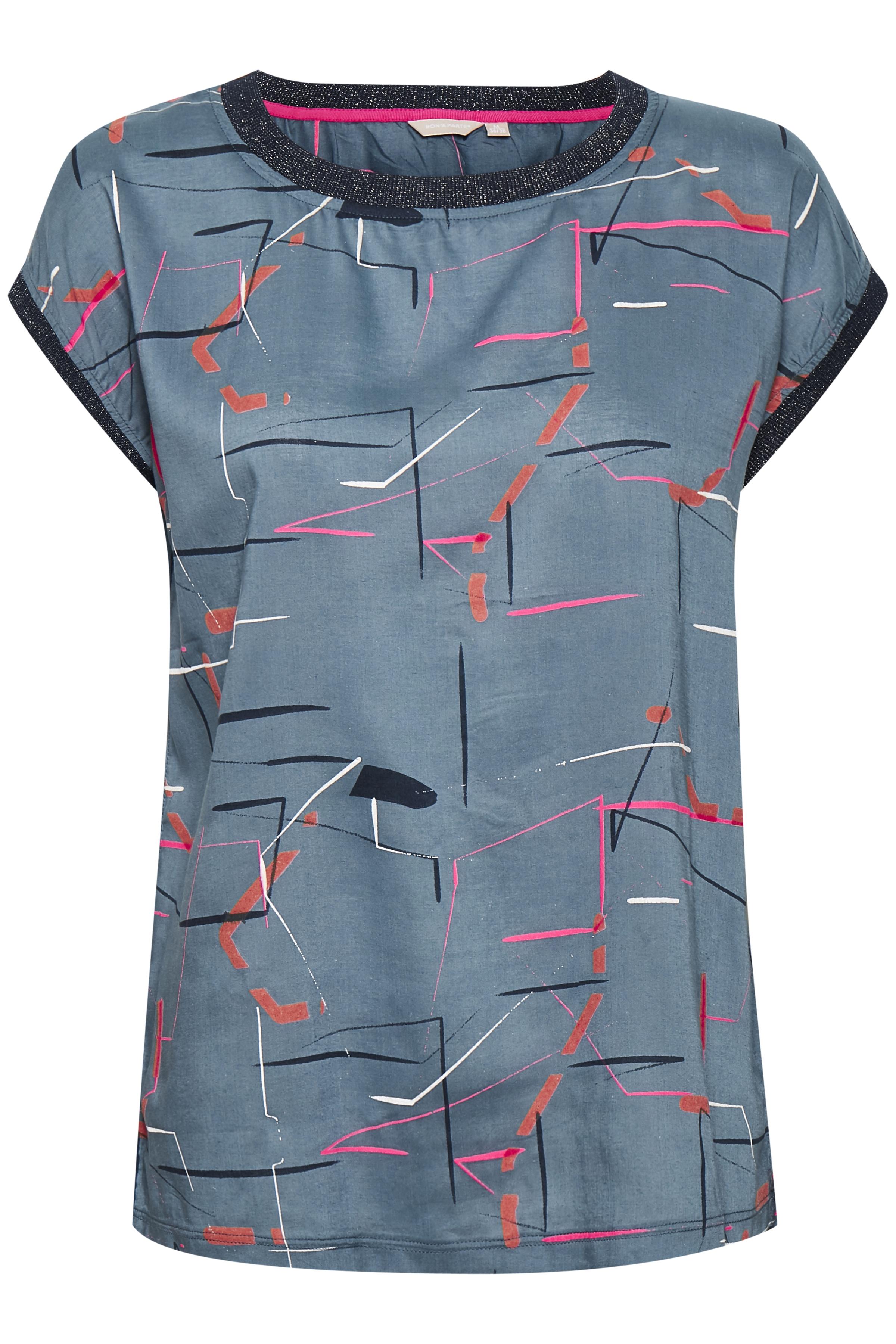 Støvet blå/pink Kortærmet bluse  fra Bon'A Parte – Køb Støvet blå/pink Kortærmet bluse  fra str. S-2XL her