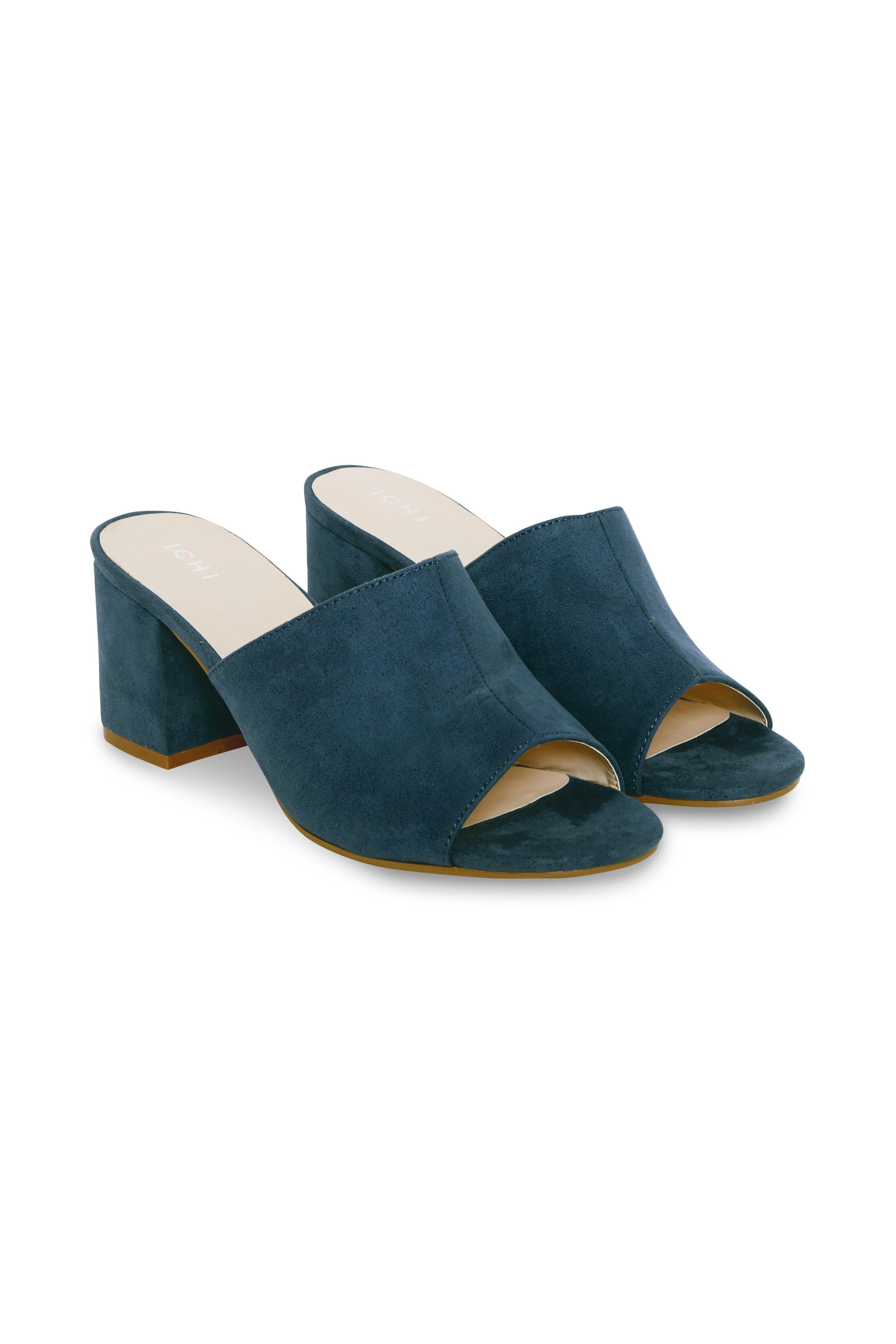 Ichi - accessories Dame Åbenstående sandal med åben hæl  - Støvet blå