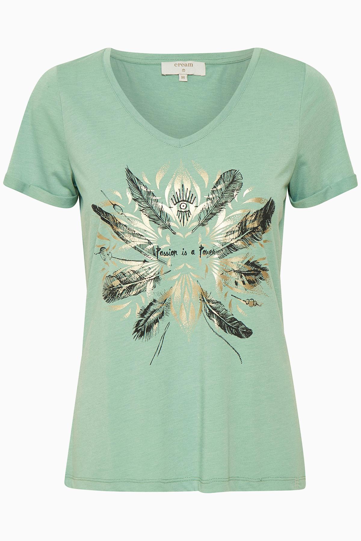 Image of Cream Dame Enkel Heather T-shirt - Støvet grøn