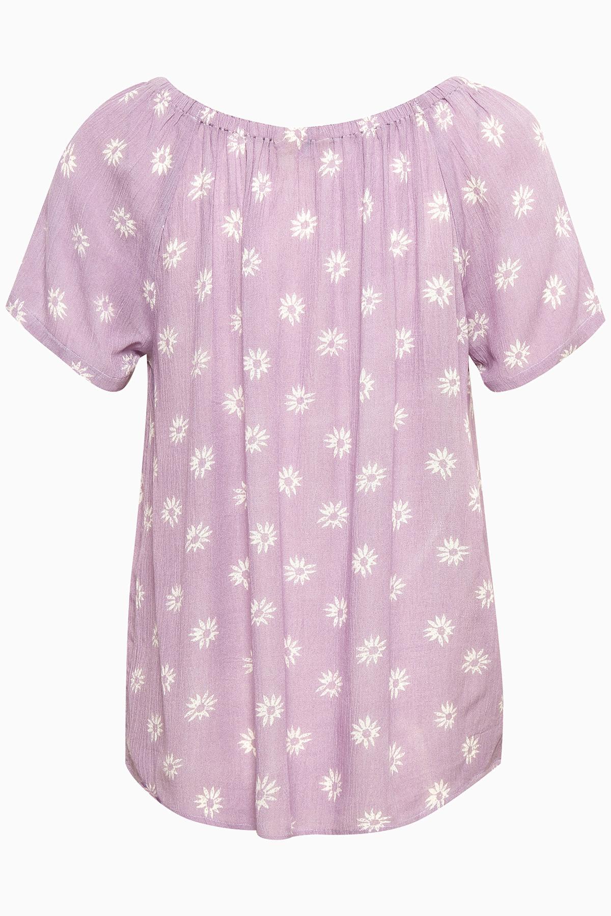 Støvet lilla Kortærmet bluse fra Bon'A Parte – Køb Støvet lilla Kortærmet bluse fra str. S-2XL her