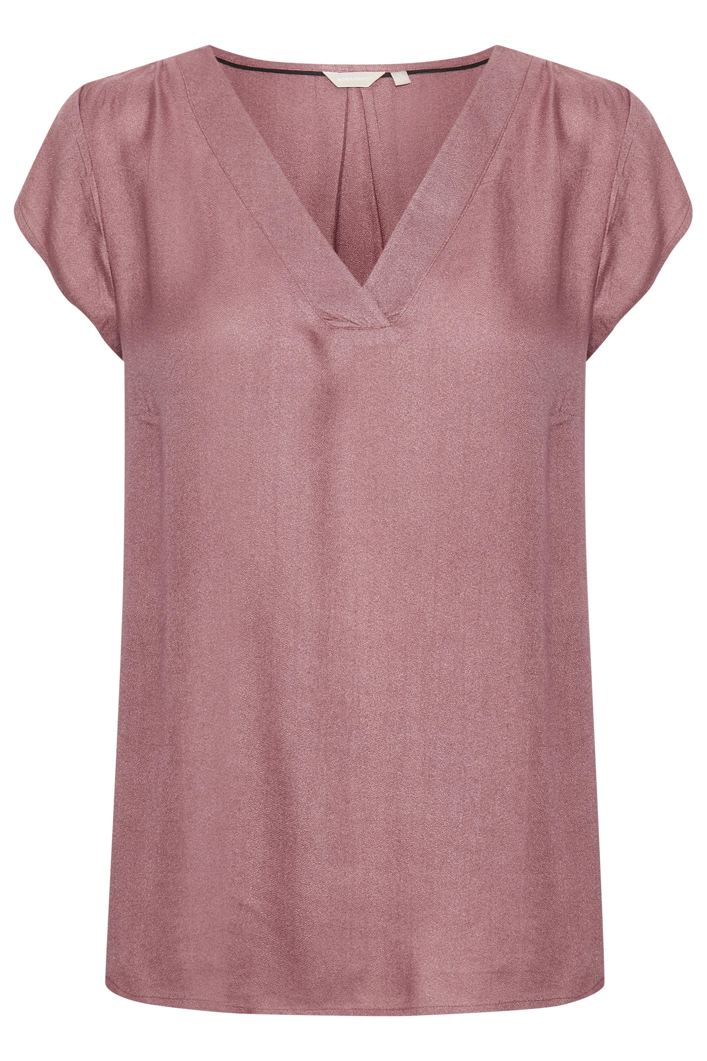 Image of BonA Parte Dame BONA PARTE bluse med V-hals. Korte ærmer. Vævet kvalitet. Blusen - Støvet lyng