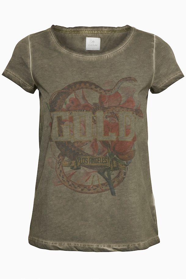 11b2bc53fdd0 Støvet oliven Kortærmet T-shirt fra Culture – Køb Støvet oliven Kortærmet  T-shirt fra str. XS-XXL her
