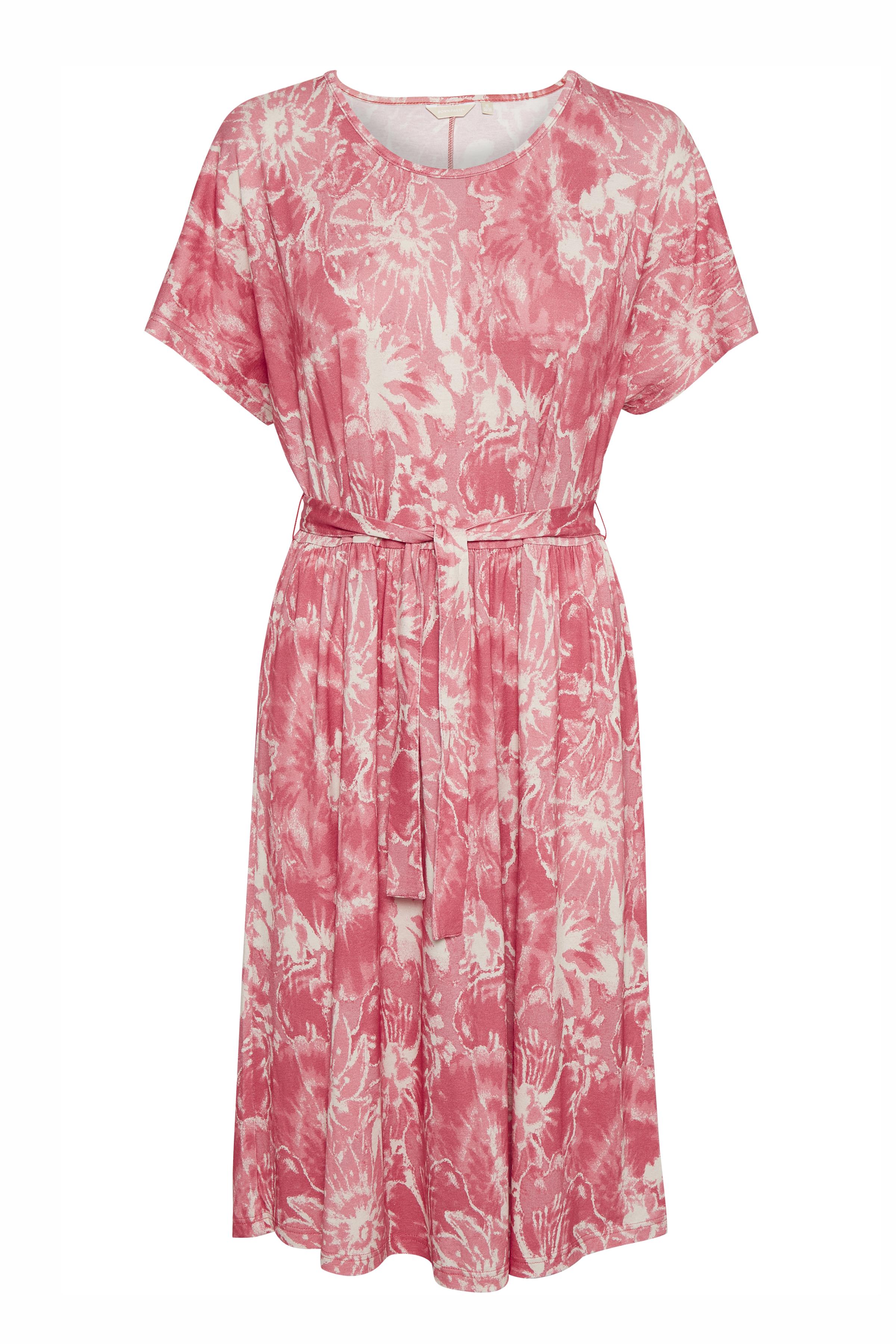 Image of BonA Parte Dame Blomstret kjole i let jerseykvalitet. Korte ærmer. Rund hals. Aftageligt bindebånd i taljen. Vidde - Støvet pink