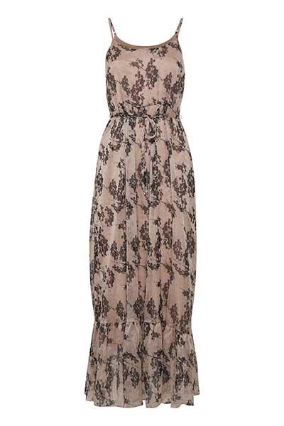 Cream Dame Flot gulvlang Loreen kjole - Støvet rosa