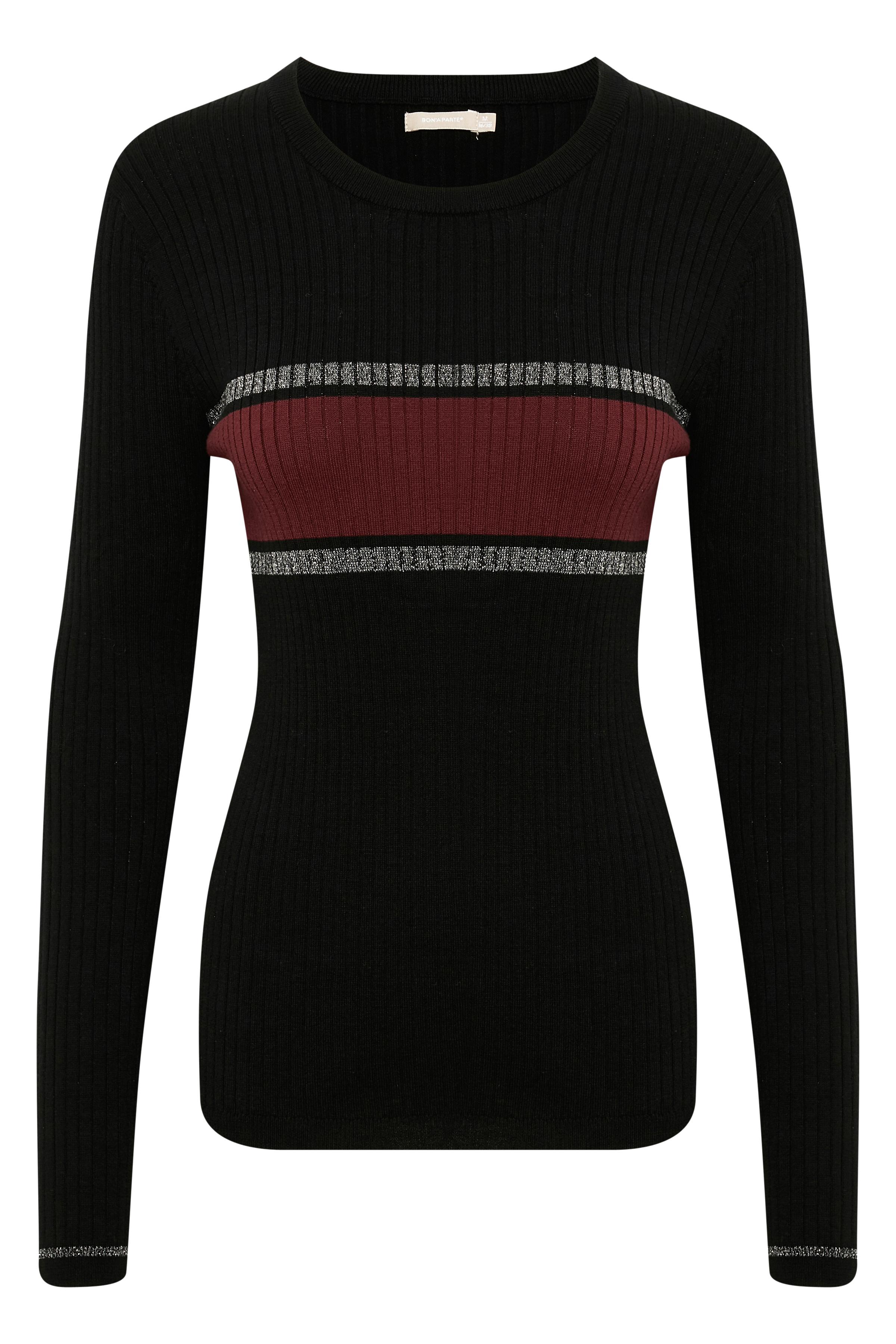 Svart Stickad pullover från Bon'A Parte – Köp Svart Stickad pullover från stl. S-2XL här