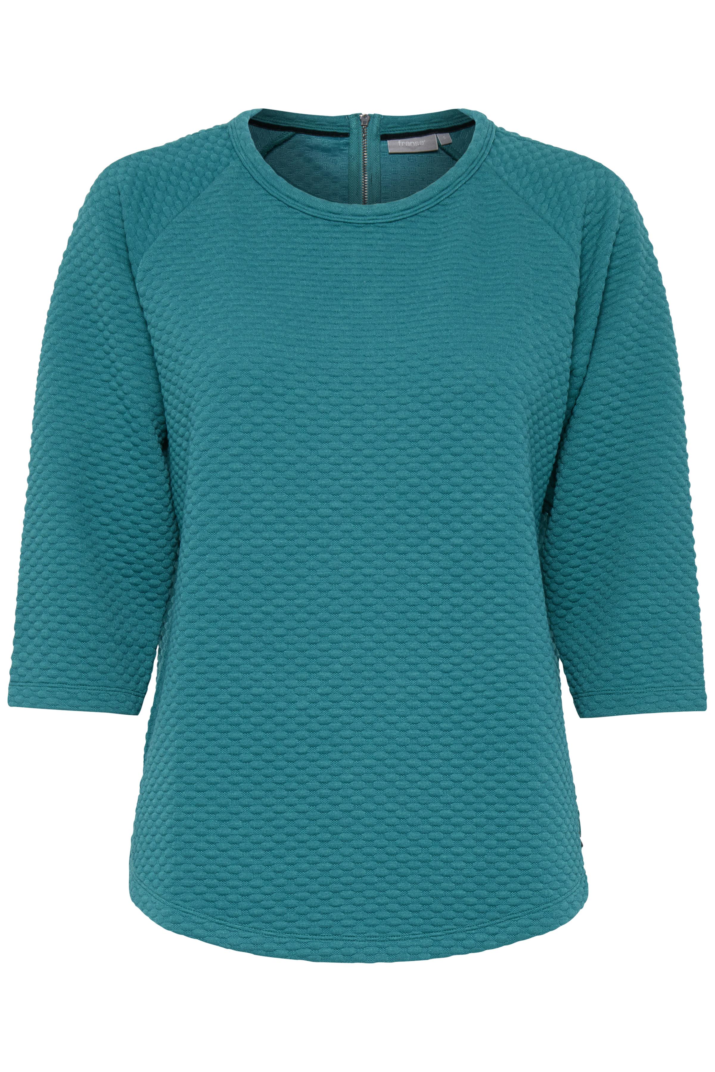 Turkisgrøn Langærmet bluse fra Fransa – Køb Turkisgrøn Langærmet bluse fra str. XS-XXL her