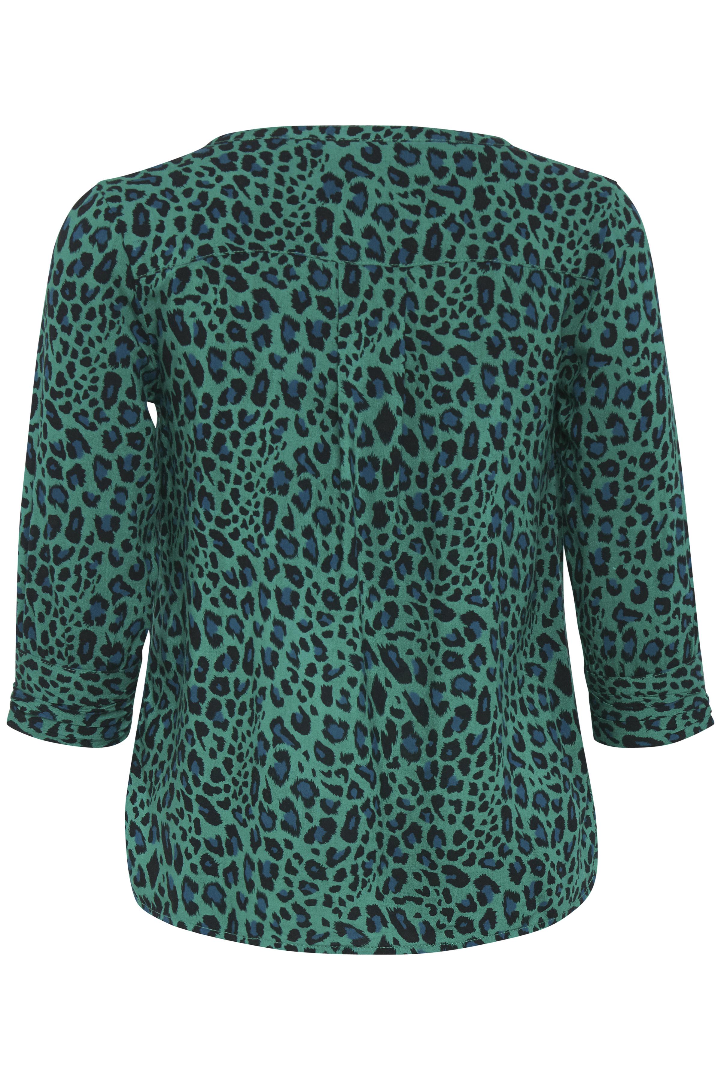 Turkisgrøn/sort Langærmet bluse fra Fransa – Køb Turkisgrøn/sort Langærmet bluse fra str. XS-XXL her