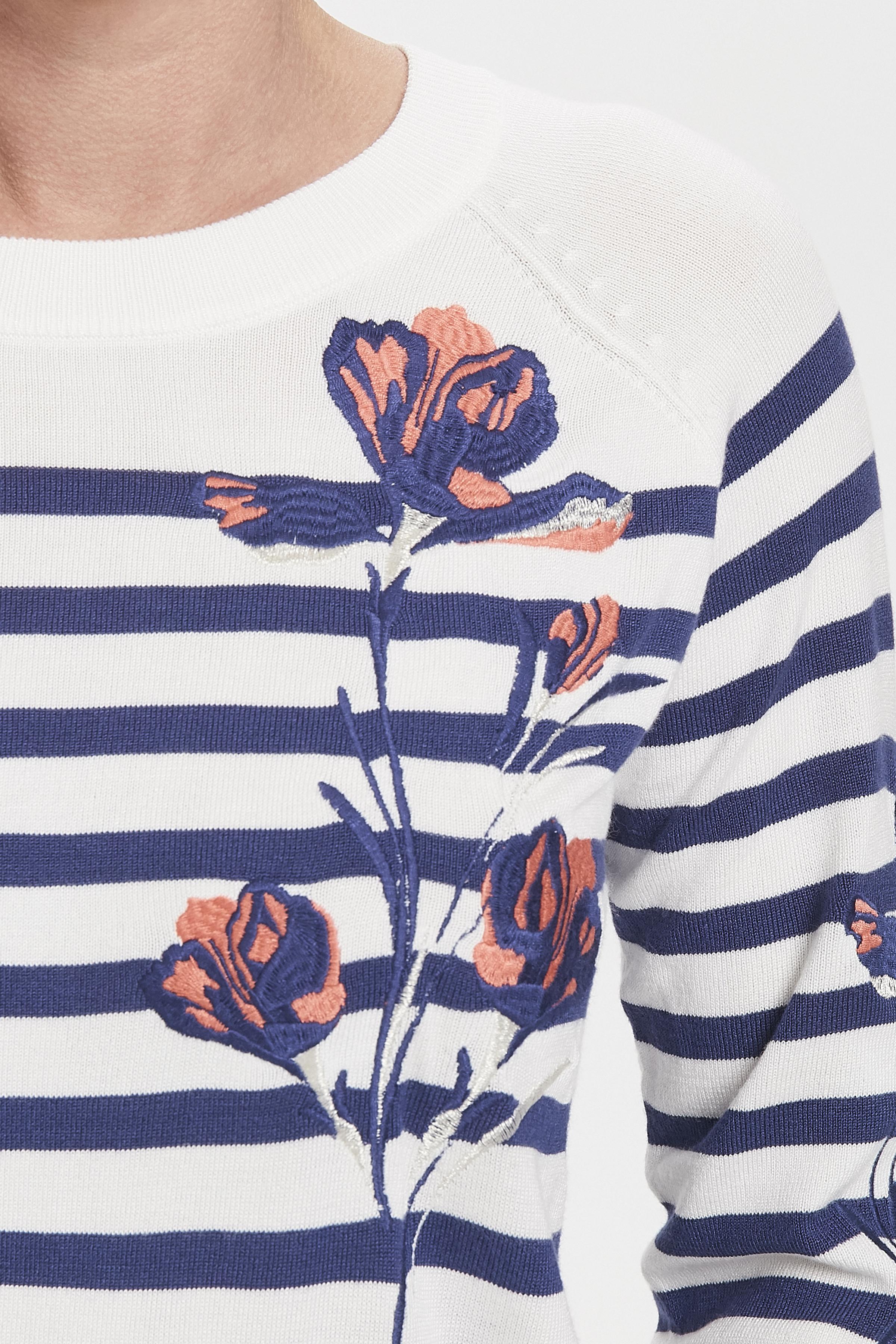 Vit/mörkblå Stickad pullover från Pulz Jeans – Köp Vit/mörkblå Stickad pullover från stl. XS-XXL här