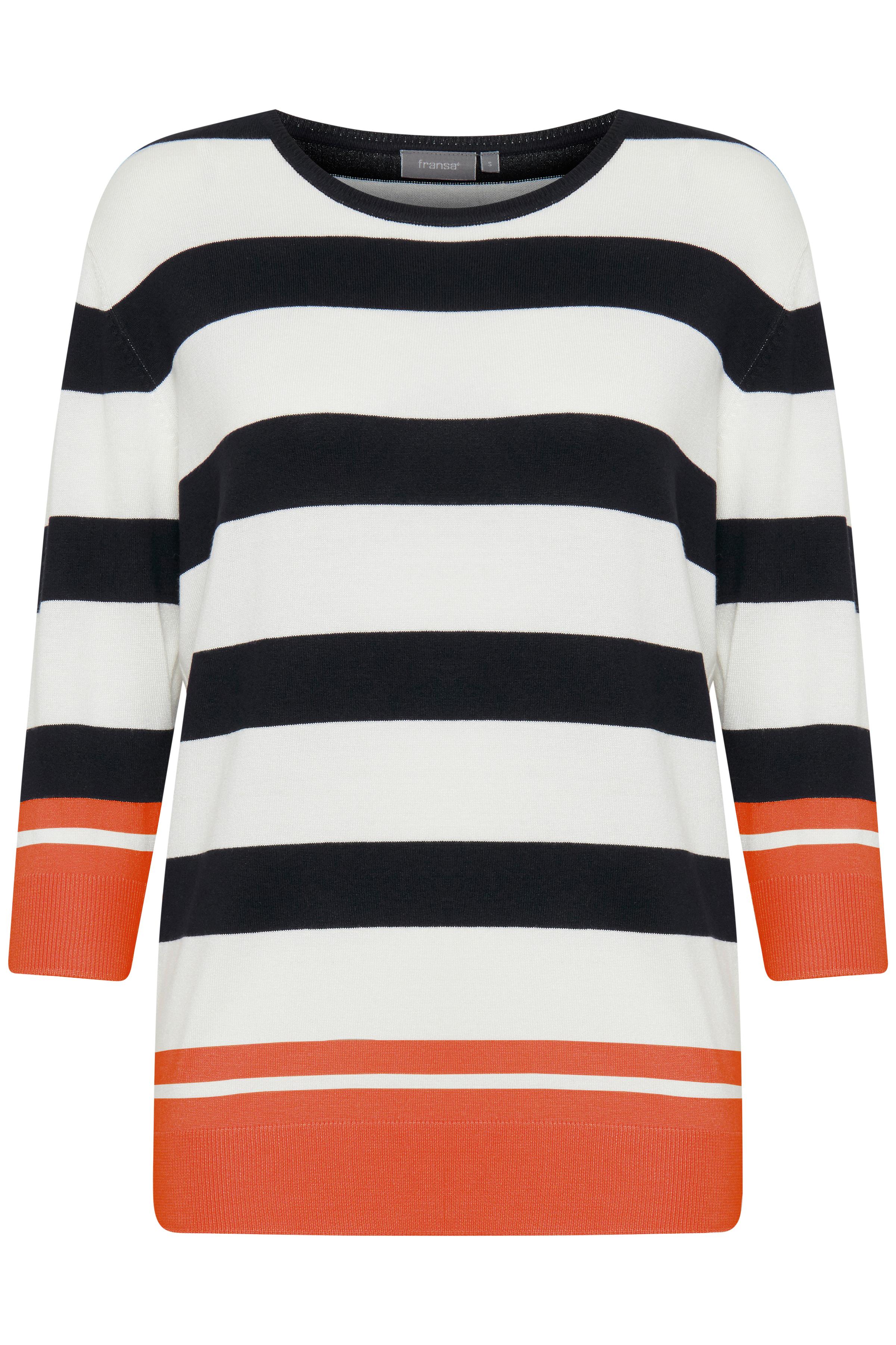Vit/orange Stickad tröja från Fransa – Köp Vit/orange Stickad tröja från stl. XS-XXL här