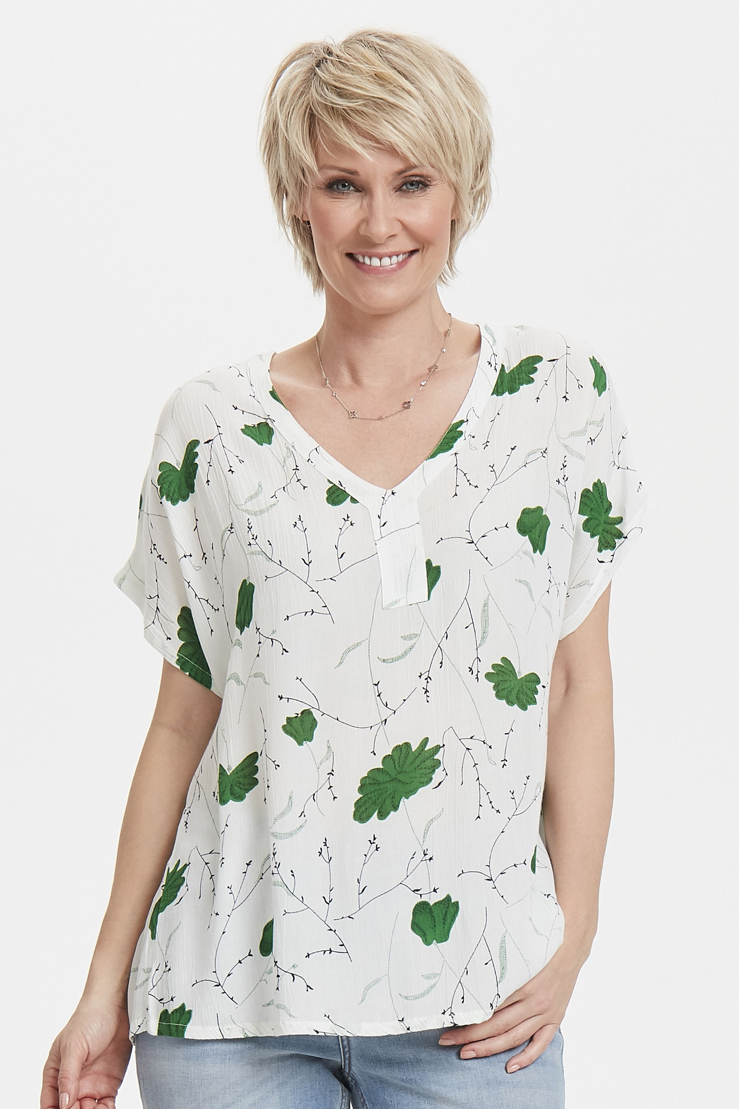 Weiß/grün Kurzarm-Bluse von Kaffe – Shoppen Sie Weiß/grün Kurzarm-Bluse ab Gr. 34-46 hier