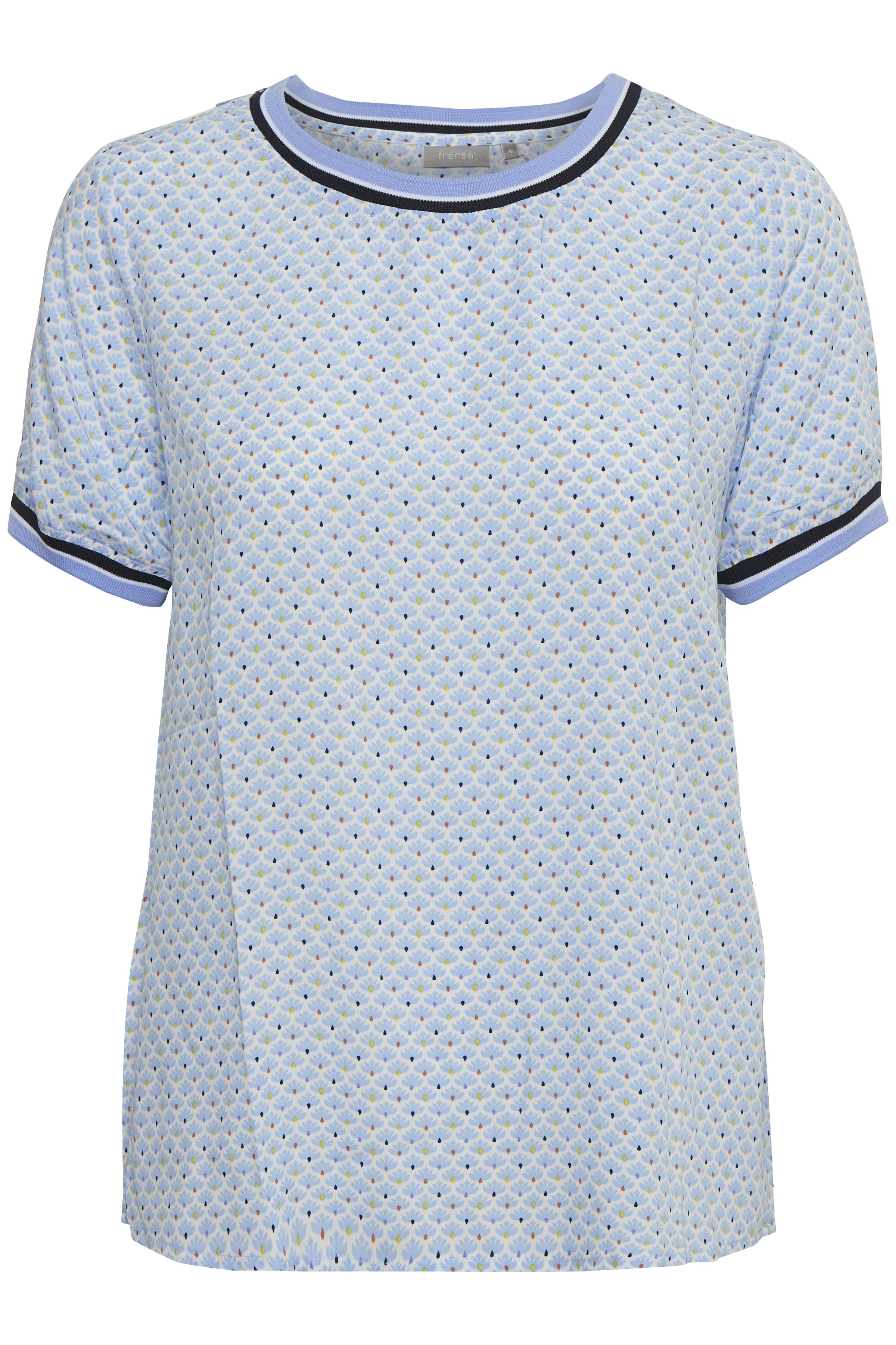 Weiß/hellblau Kurzarm-Bluse von Fransa – Shoppen Sie Weiß/hellblau Kurzarm-Bluse ab Gr. XS-XXL hier