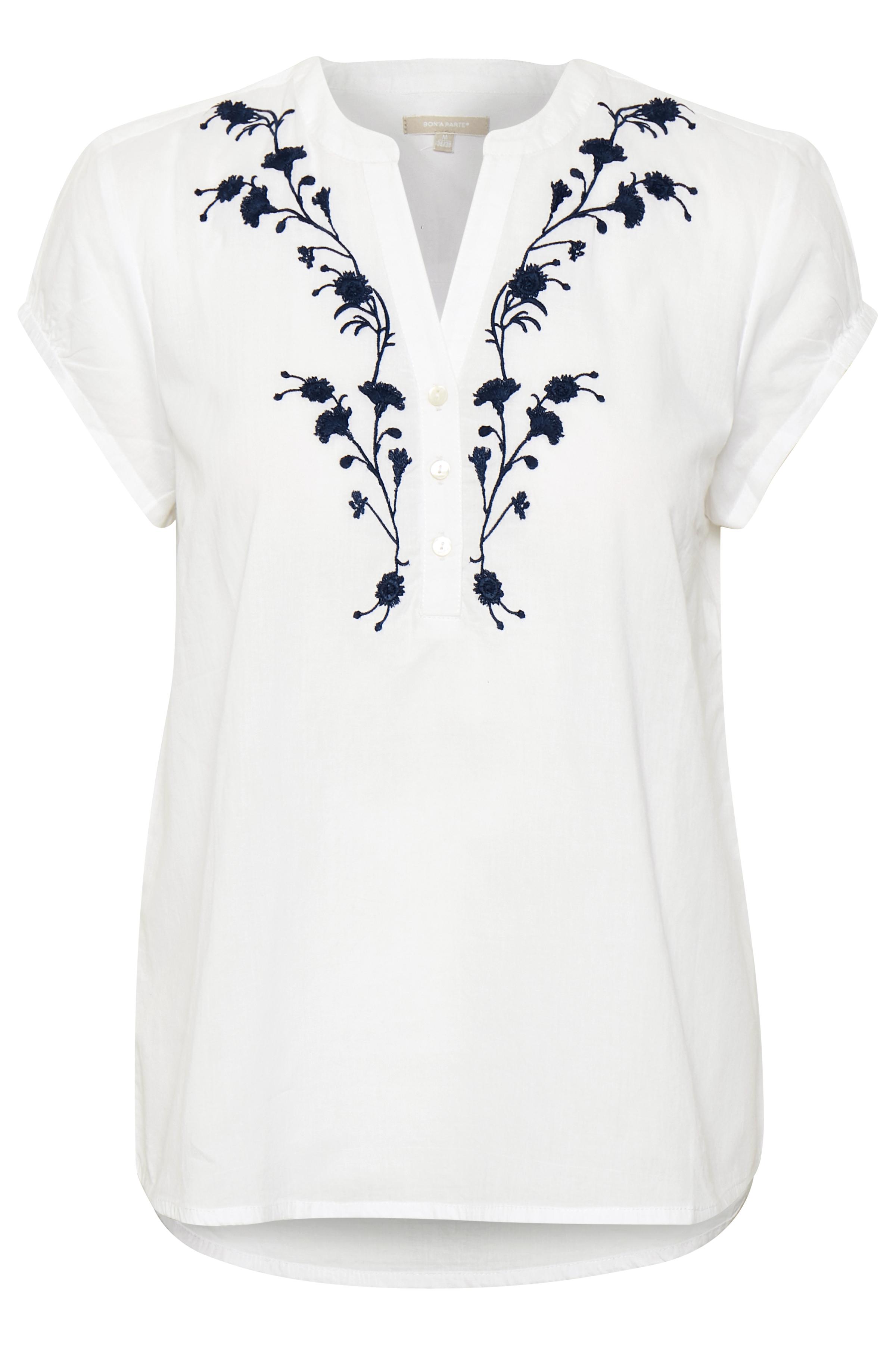 Weiß Kurzarm-Bluse  von Bon'A Parte – Shoppen Sie Weiß Kurzarm-Bluse  ab Gr. S-2XL hier