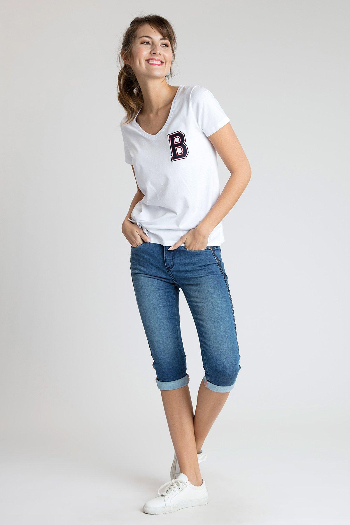 Weiß Kurzarm T-Shirt von Bon'A Parte – Shoppen Sie Weiß Kurzarm T-Shirt ab Gr. S-2XL hier
