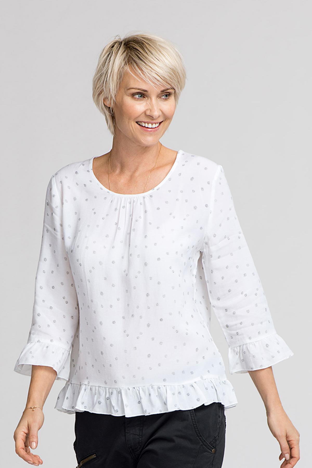 Weiß Langarm-Bluse von Bon'A Parte – Shoppen Sie Weiß Langarm-Bluse ab Gr. S-2XL hier