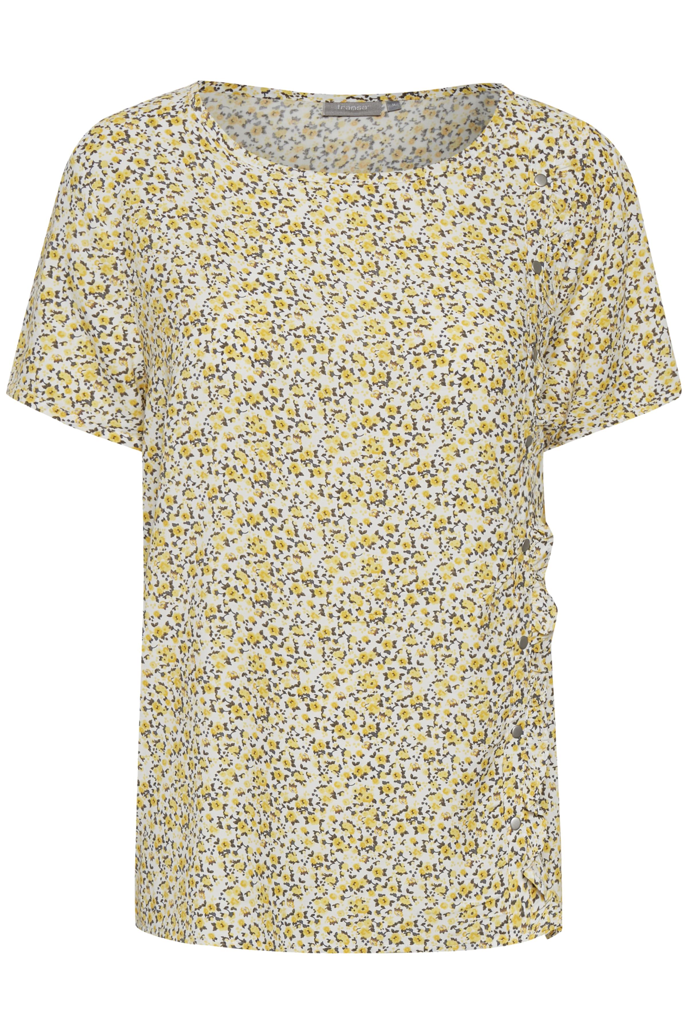 Wit/geel Korte mouwen shirt  van Fransa – Door Wit/geel Korte mouwen shirt  van maat. XS-XXL hier