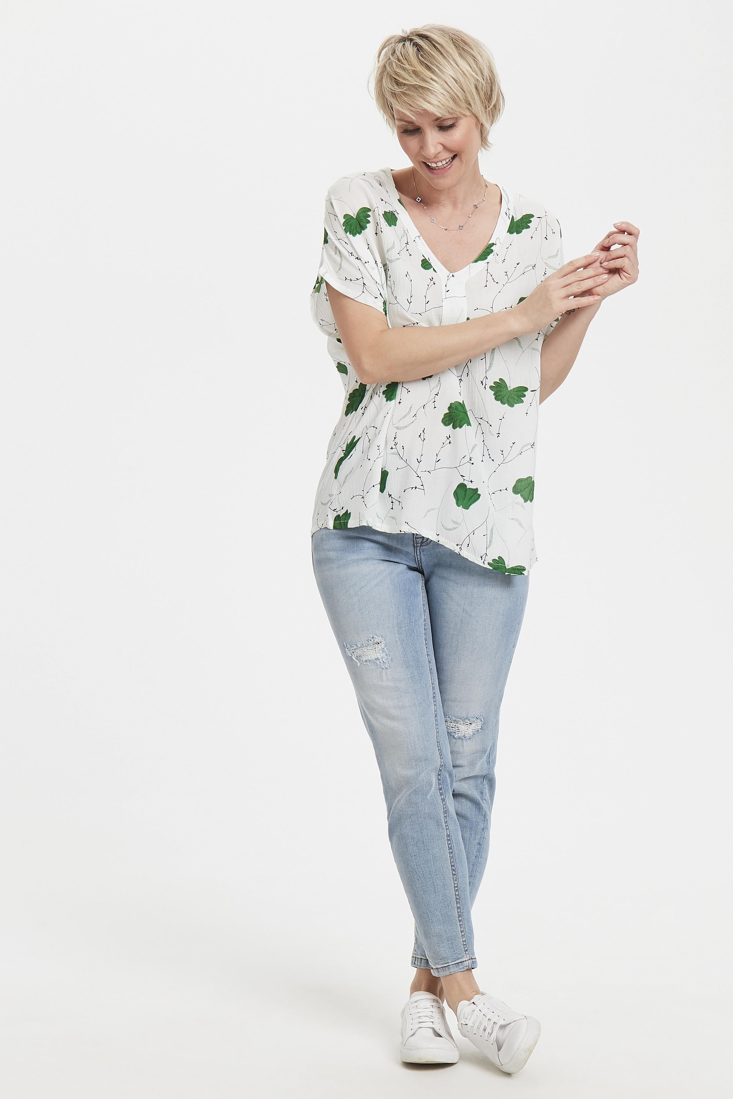 Wit/groen Blouse met korte mouwen van Kaffe – Door Wit/groen Blouse met korte mouwen van maat. 34-46 hier