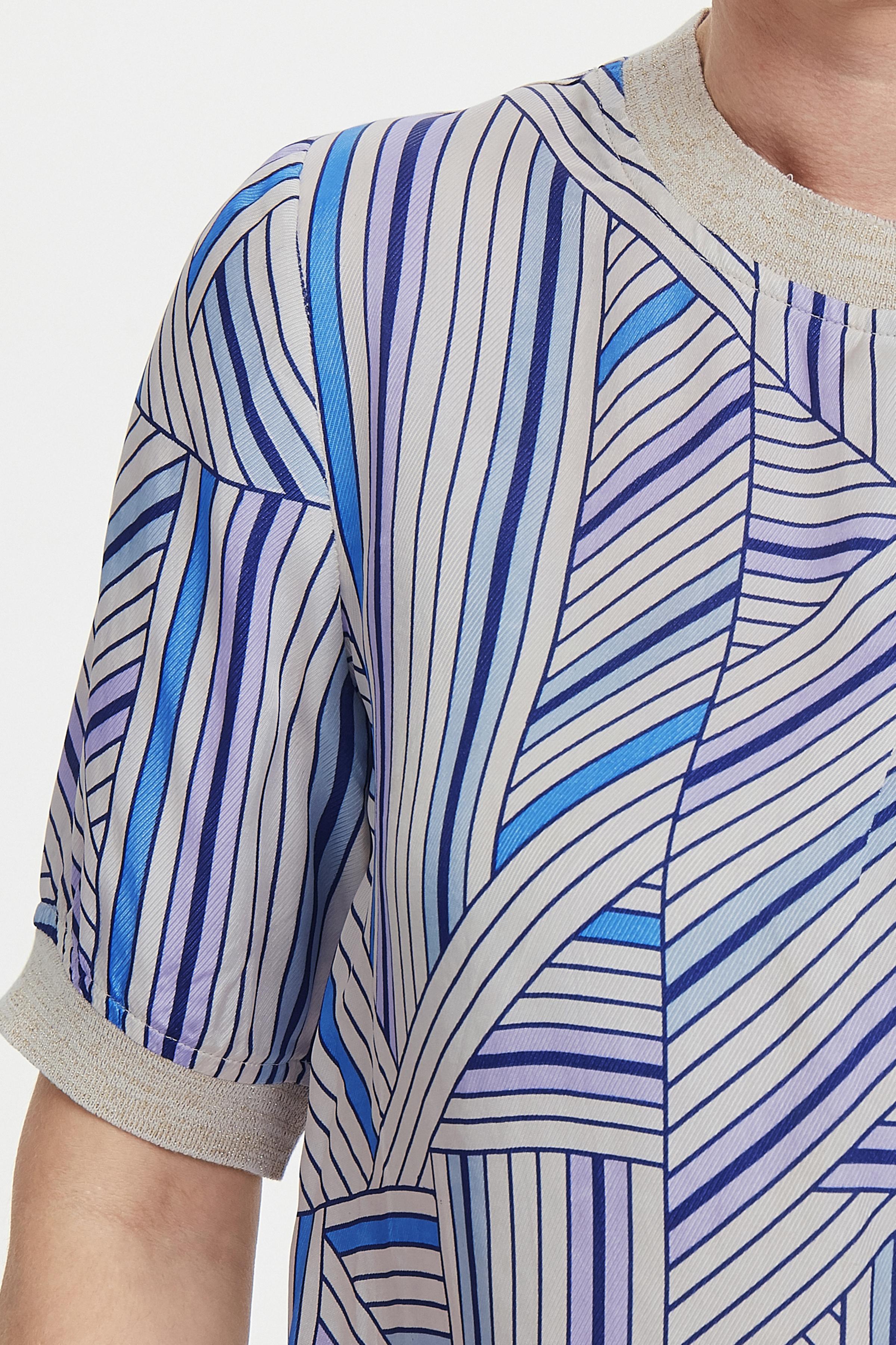 Wollweiß/blau Kurzarm-Bluse  von Dranella – Shoppen Sie Wollweiß/blau Kurzarm-Bluse  ab Gr. XS-XXL hier