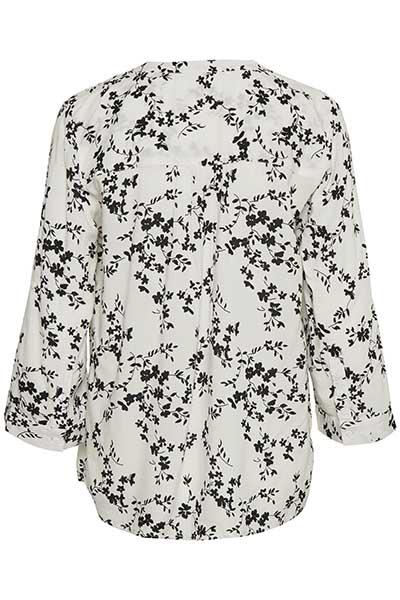 Wollweiß/blume Kurzarm-Bluse von Bon'A Parte – Shoppen Sie Wollweiß/blume Kurzarm-Bluse ab Gr. S-2XL hier