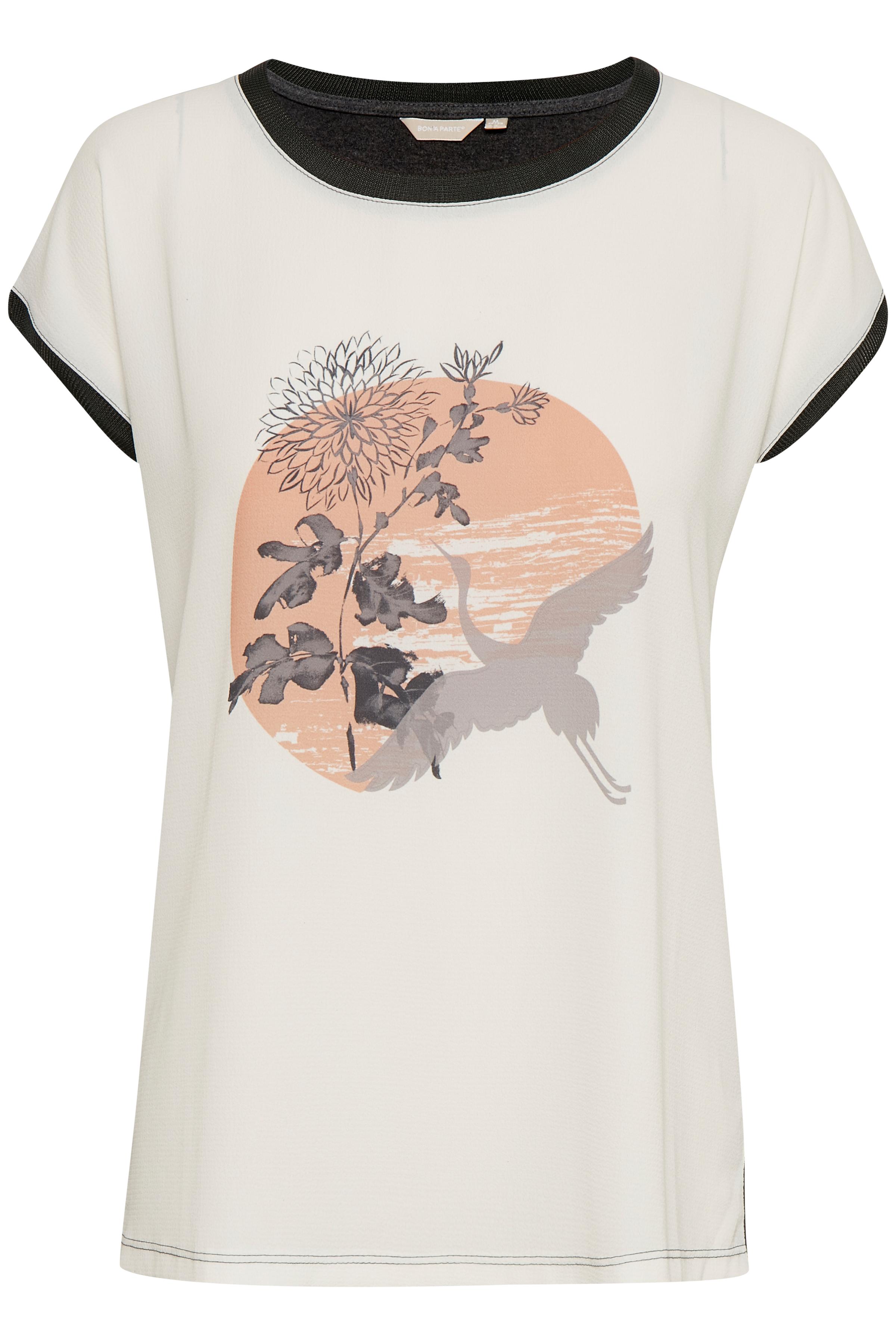 Wollweiß/dunkelgrau Kurzarm-Bluse von Bon'A Parte – Shoppen Sie Wollweiß/dunkelgrau Kurzarm-Bluse ab Gr. S-2XL hier