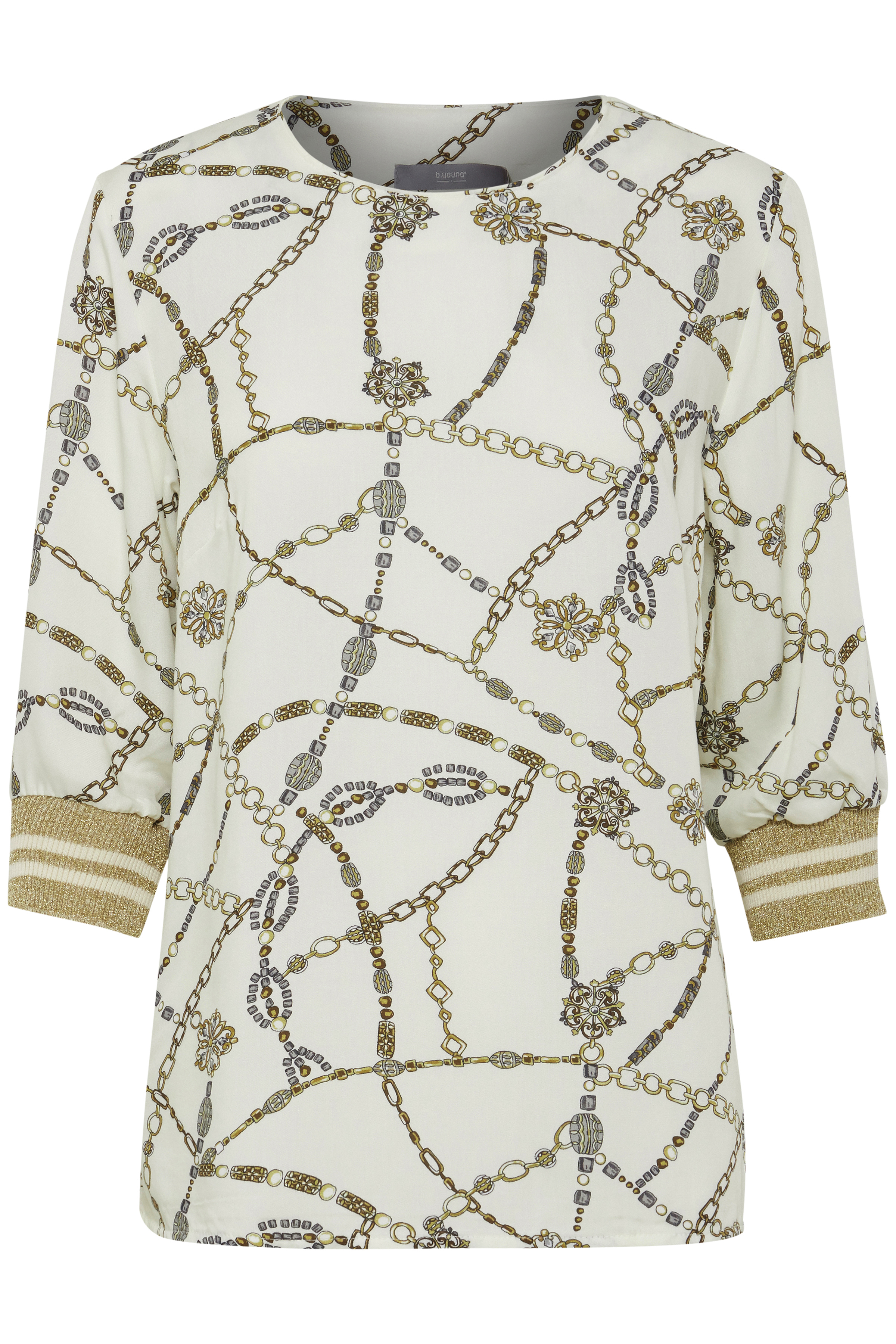 Wollweiß/gold Langarm-Bluse von b.young – Shoppen Sie Wollweiß/gold Langarm-Bluse ab Gr. 34-46 hier