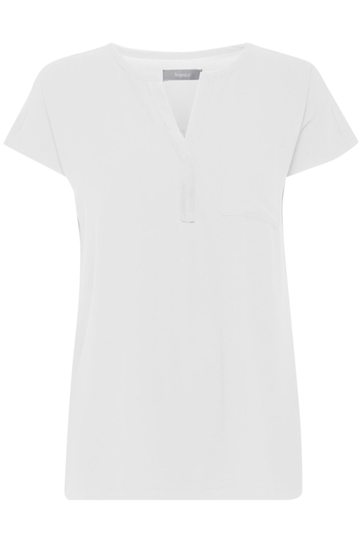 Wollweiß Kurzarm-Bluse von Fransa – Shoppen Sie Wollweiß Kurzarm-Bluse ab Gr. XS-XXL hier