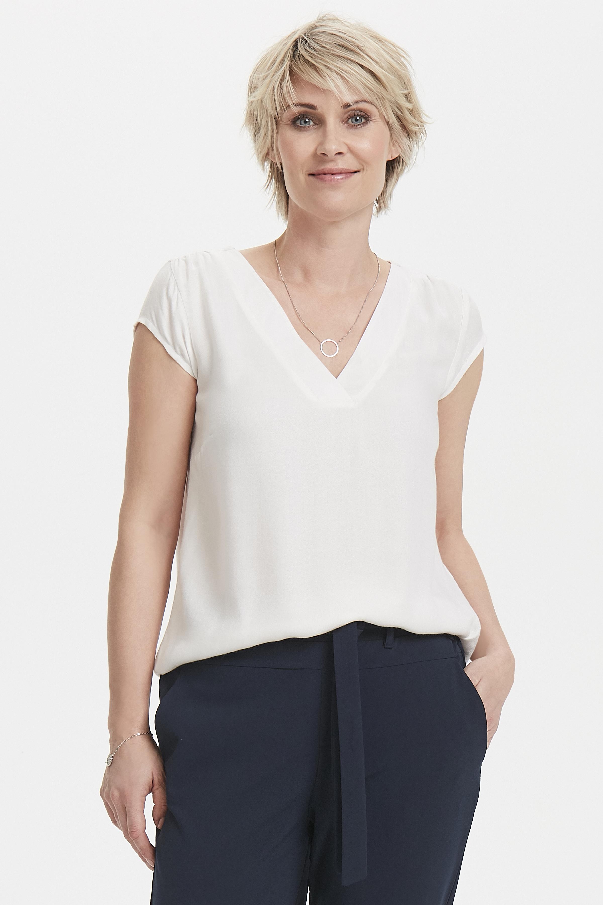 Wollweiß Kurzarm-Bluse  von Bon'A Parte – Shoppen Sie Wollweiß Kurzarm-Bluse  ab Gr. S-2XL hier