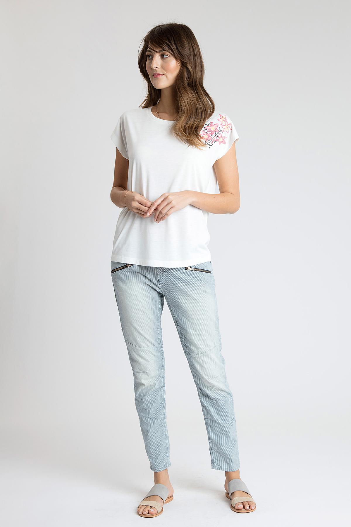 Wollweiß Kurzarm T-Shirt von Bon'A Parte – Shoppen Sie Wollweiß Kurzarm T-Shirt ab Gr. S-2XL hier