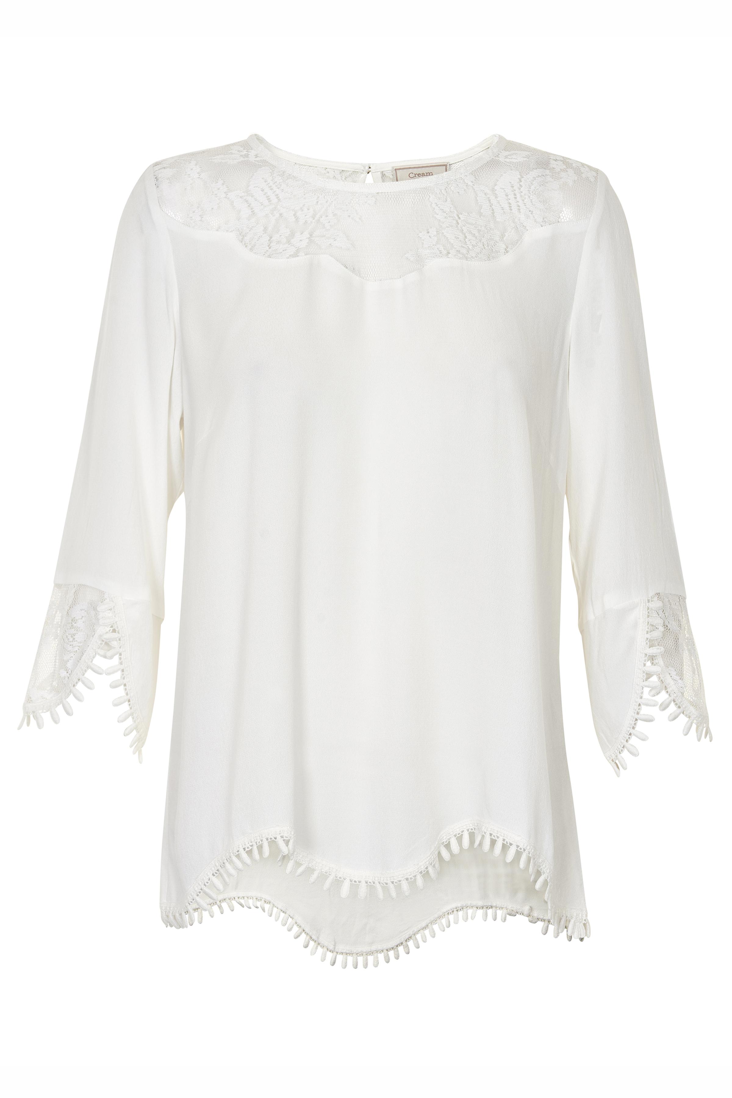 Wollweiß Langarm-Bluse von Cream – Shoppen Sie Wollweiß Langarm-Bluse ab Gr. 34-46 hier