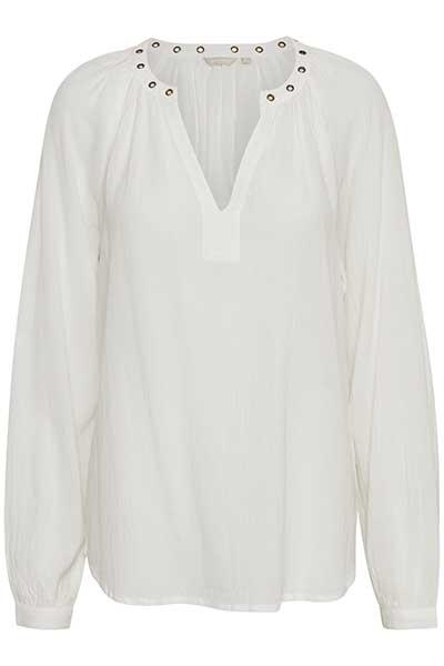 Wollweiß Langarm-Bluse von Bon'A Parte – Shoppen Sie Wollweiß Langarm-Bluse ab Gr. S-2XL hier