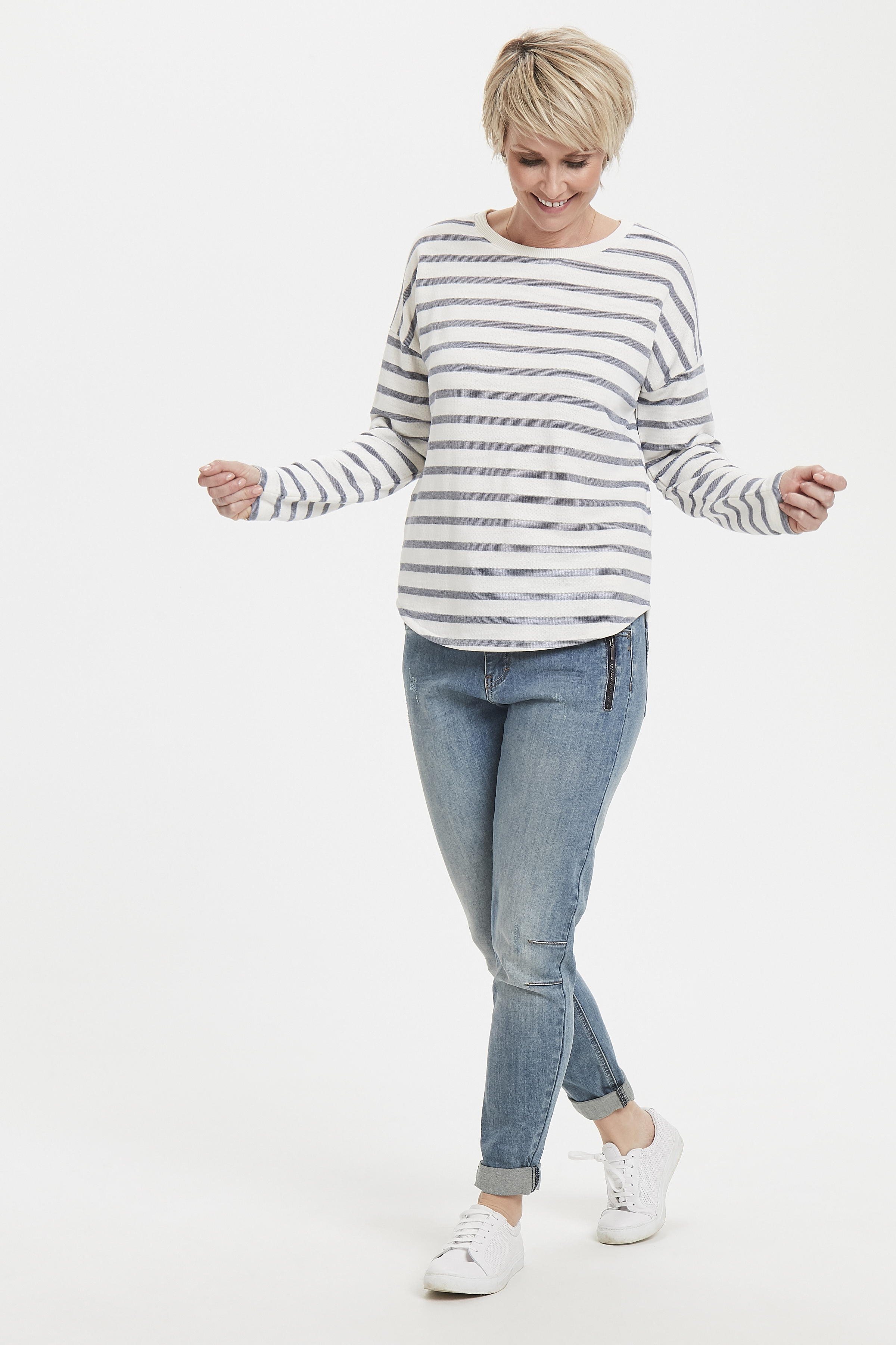 Wollweiß/marineblau Sweatshirt von Bon'A Parte – Shoppen Sie Wollweiß/marineblau Sweatshirt ab Gr. S-2XL hier