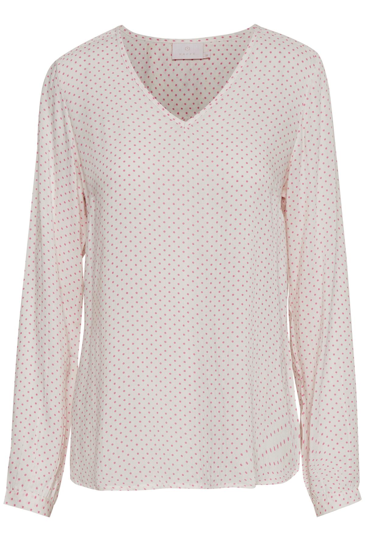 Wollweiß/rosa Langarm-Bluse von Kaffe – Shoppen Sie Wollweiß/rosa Langarm-Bluse ab Gr. 34-46 hier