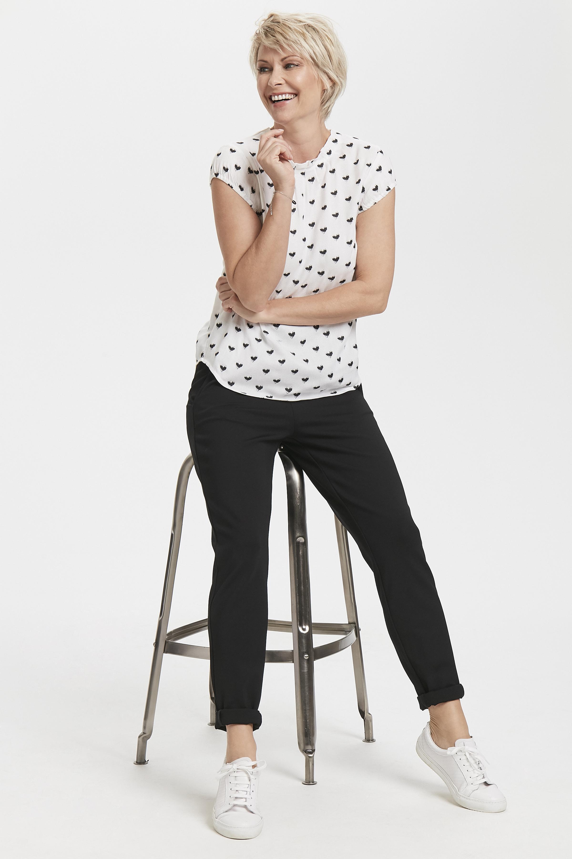 Wollweiß/schwarz Kurzarm-Bluse  von Bon'A Parte – Shoppen Sie Wollweiß/schwarz Kurzarm-Bluse  ab Gr. S-2XL hier