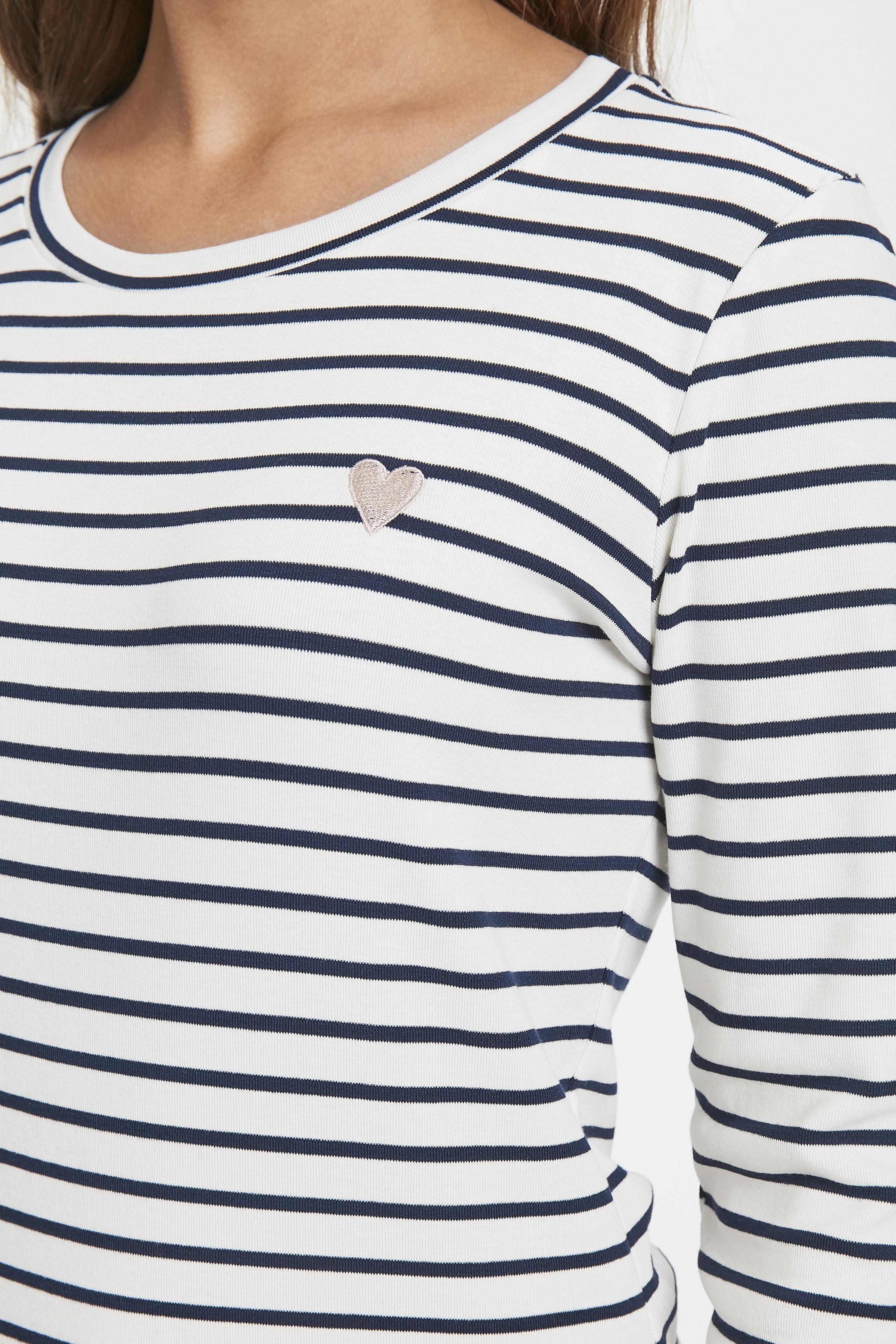 Wollweiss/marineblau Langarm-Bluse  von Kaffe – Shoppen SieWollweiss/marineblau Langarm-Bluse  ab Gr. XS-XXL hier