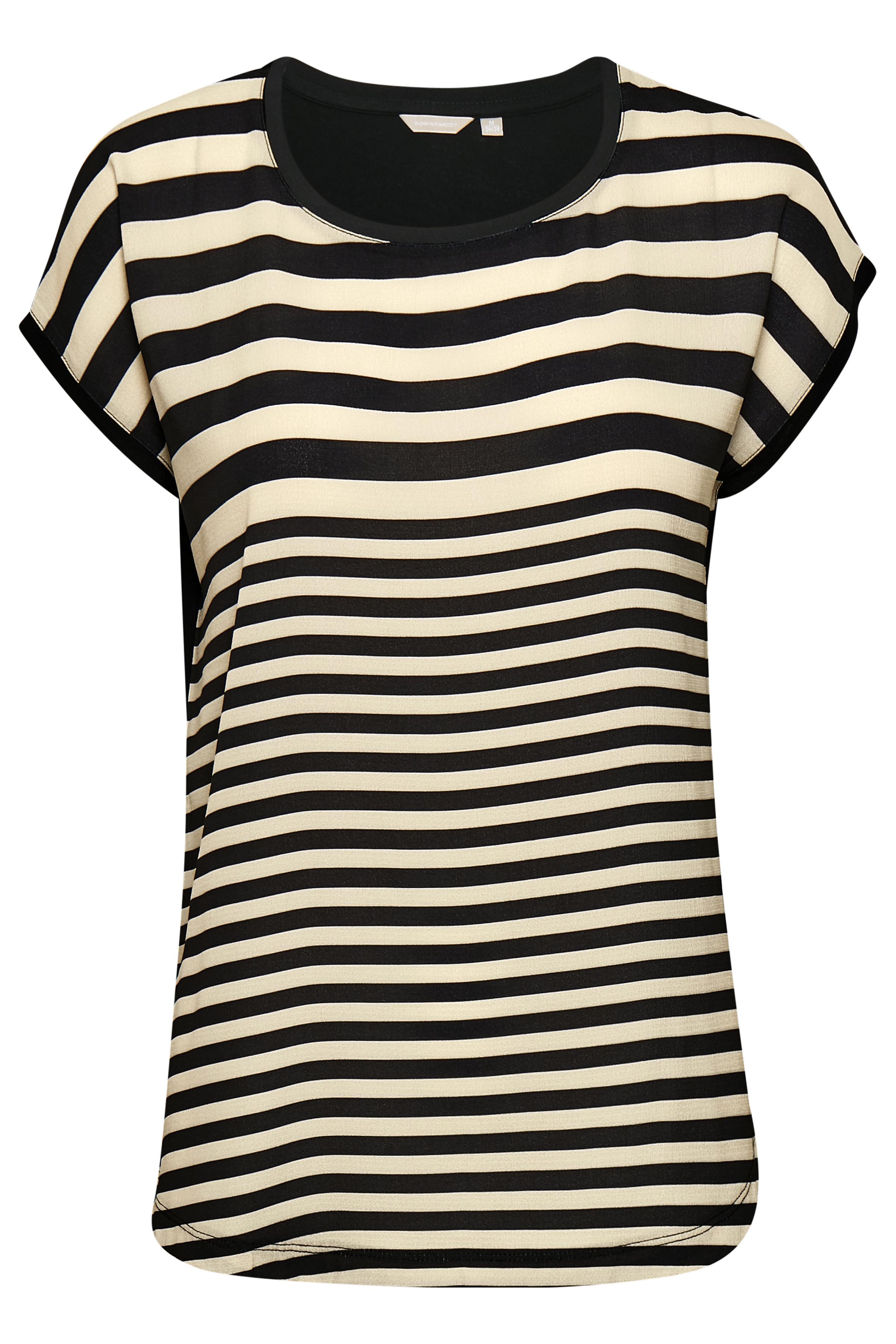 Zand/zwart Korte mouwen shirt  van Bon'A Parte – Door Zand/zwart Korte mouwen shirt  van maat. S-2XL hier