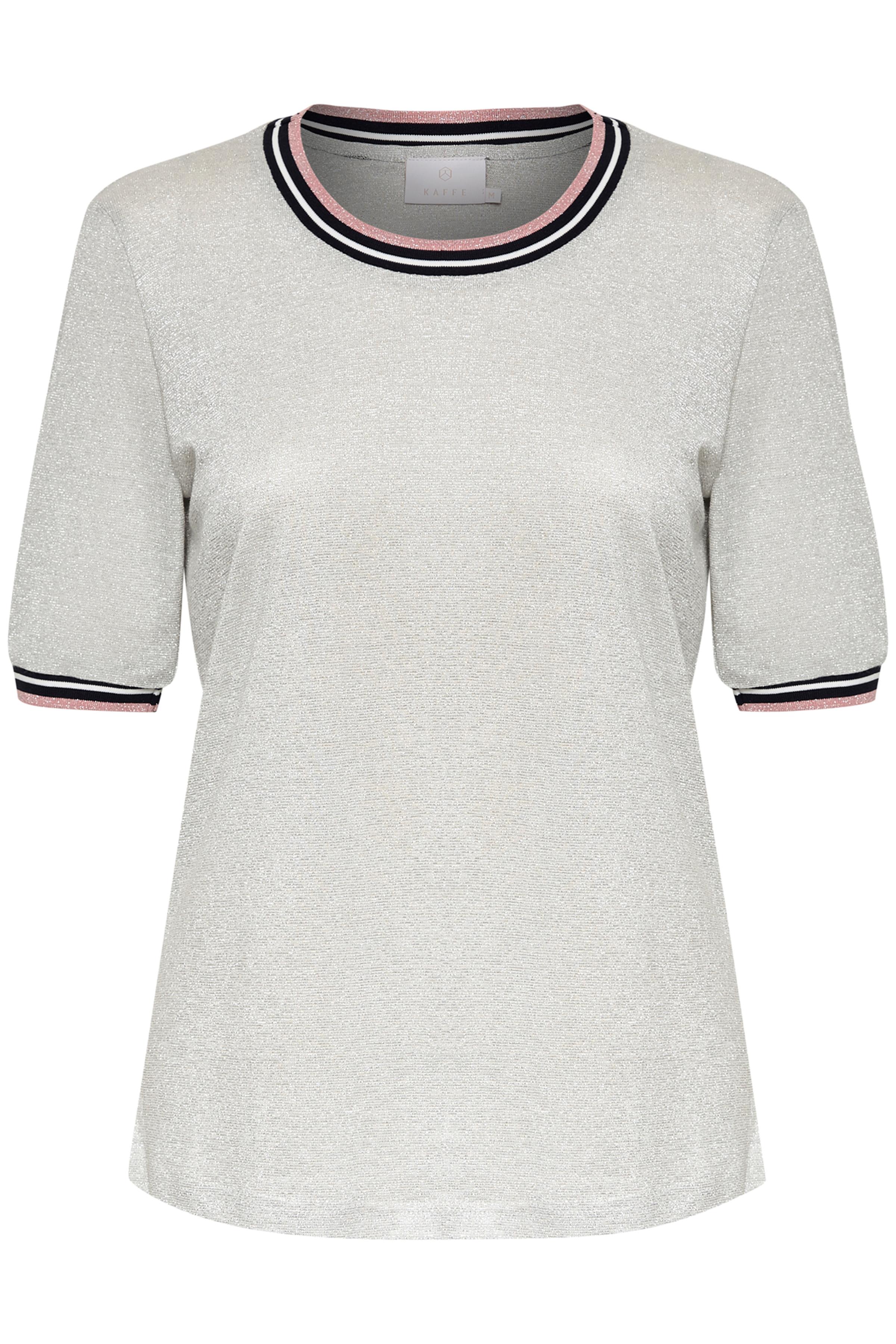 Zilver T-shirt korte mouw van Kaffe – Door Zilver T-shirt korte mouw van maat. XS-XXL hier