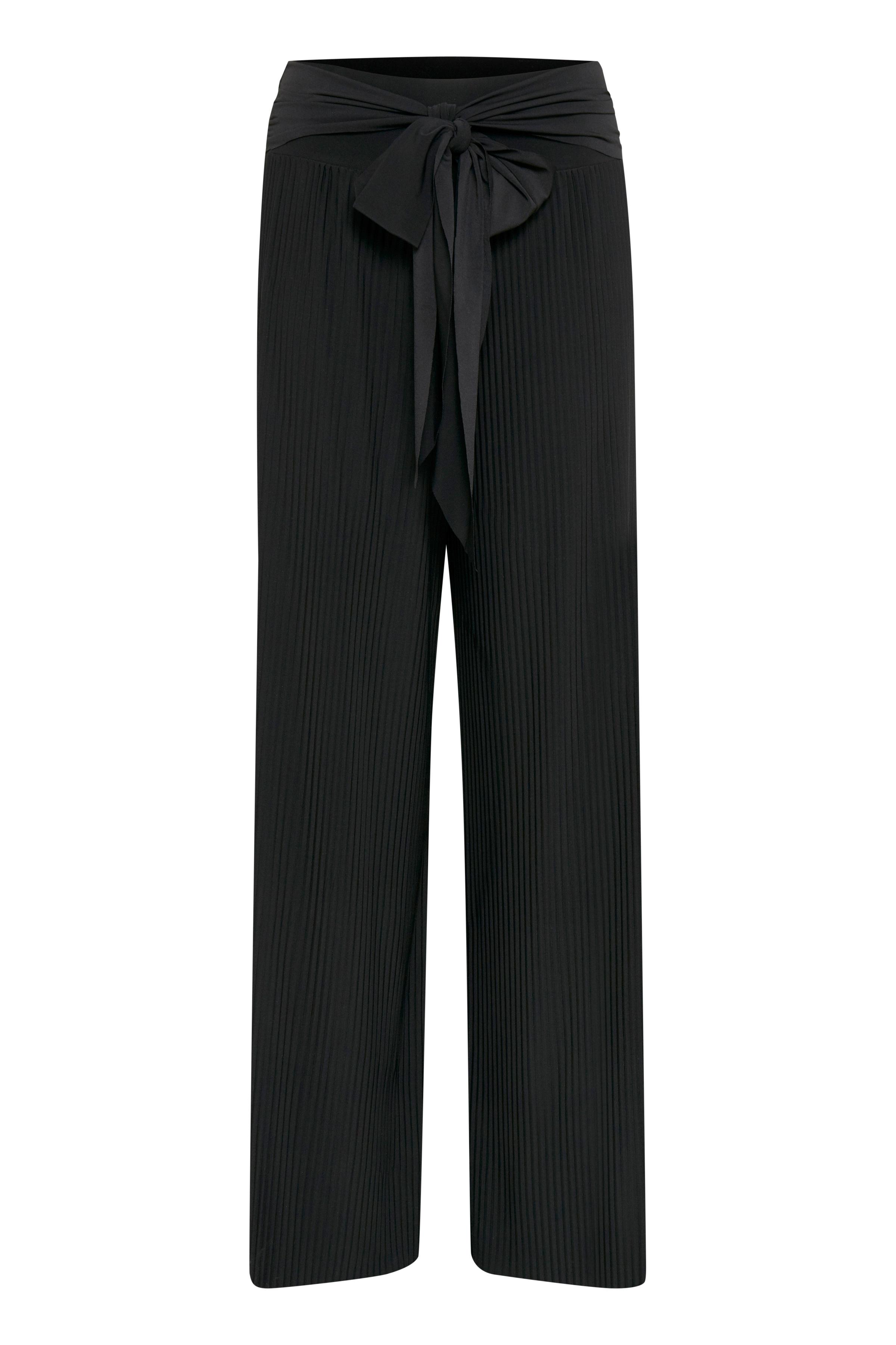 Fransa Dame Broek met vaste tailleband en riemlussen in de taille. De enkelbroek van FRANSA heeft een losse pasvorm. Geplooid Geweven kwaliteit. Een feestelijke broek die goed bij een kanten top en een paar pumps past. - Zwart