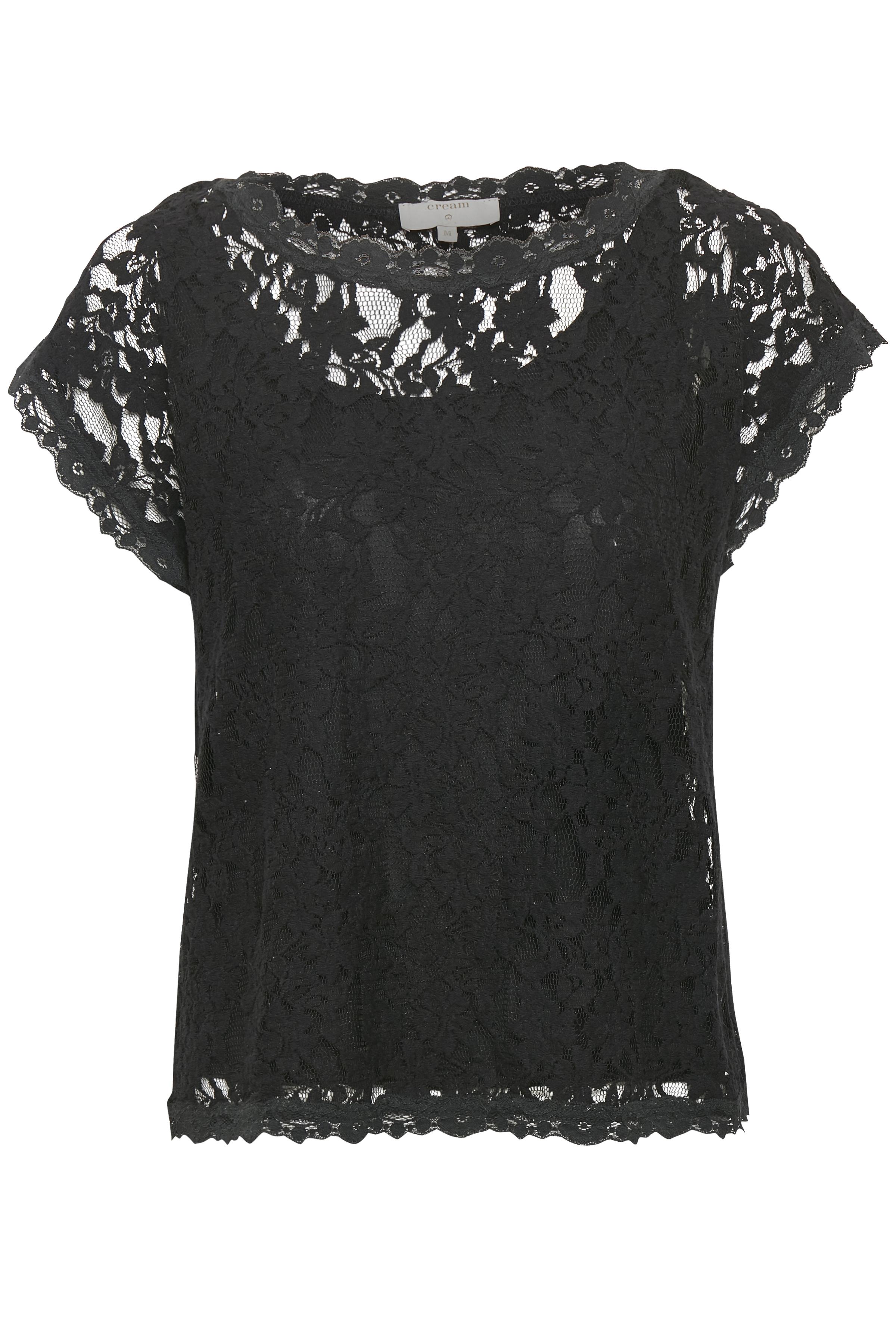 Cream Dame Kanten shirt - Zwart