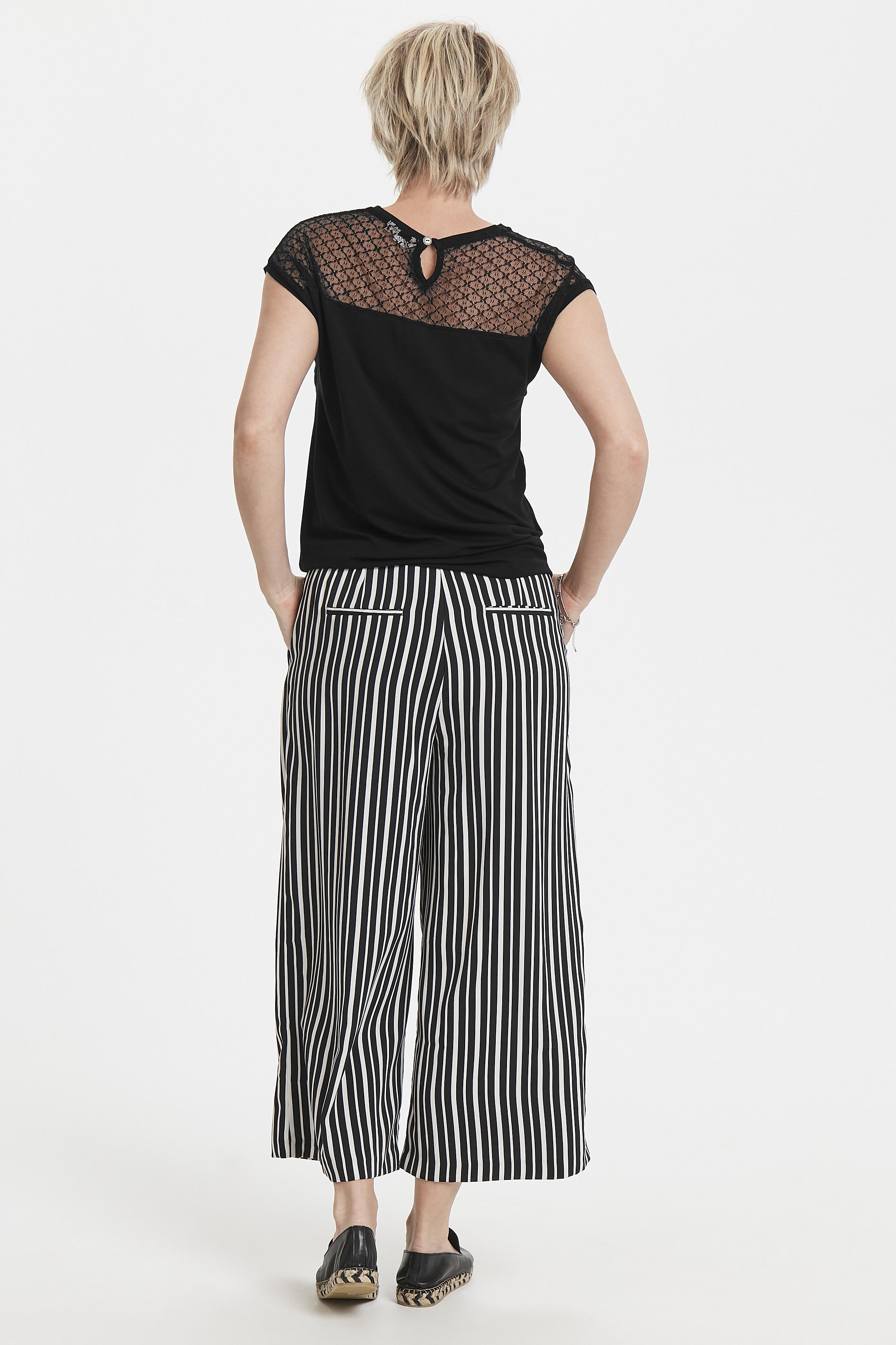Zwart Korte mouwen shirt  van Bon'A Parte – Door Zwart Korte mouwen shirt  van maat. S-2XL hier