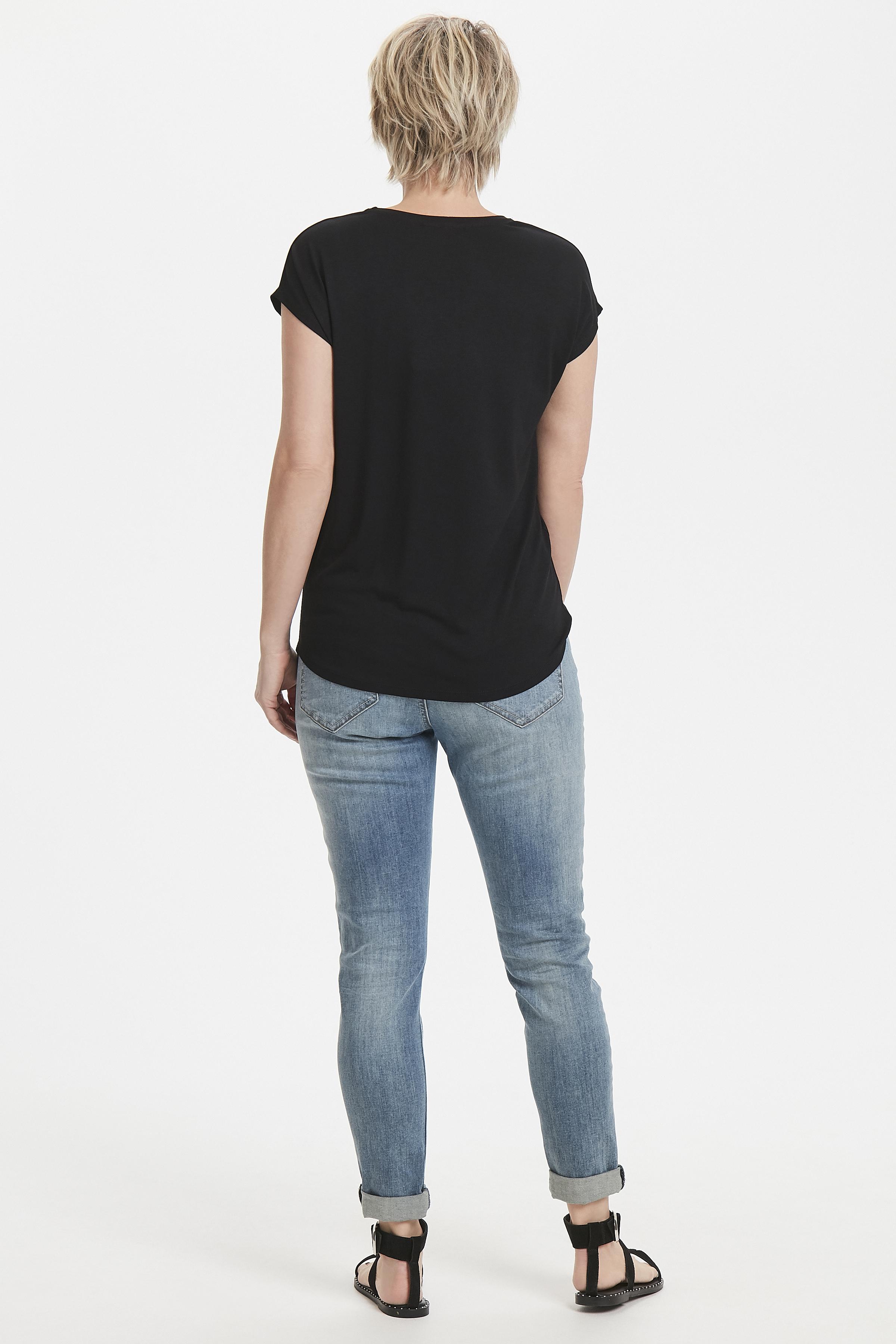 Zwart Korte mouwen T-shirt  van Bon'A Parte – Door Zwart Korte mouwen T-shirt  van maat. S-2XL hier