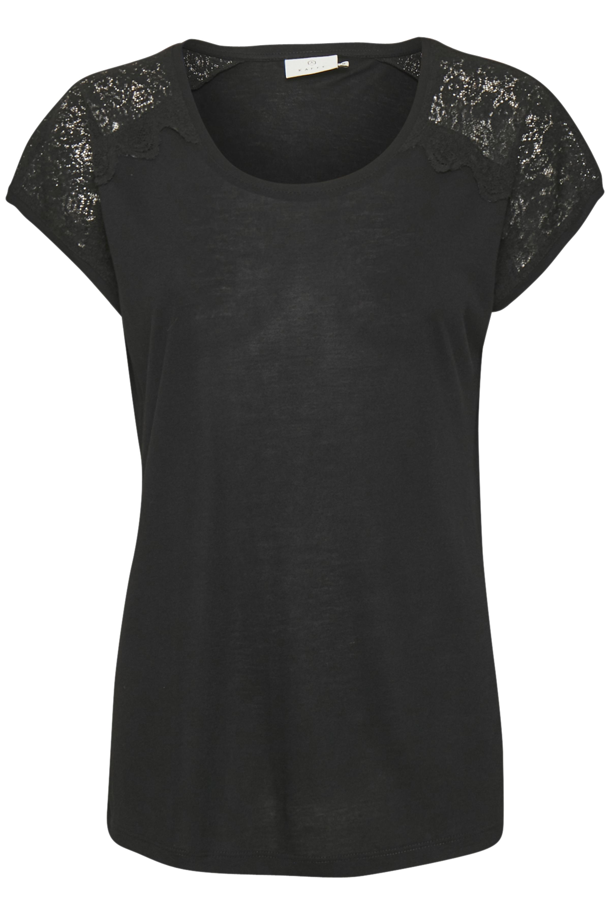 Zwart Korte mouwen T-shirt  van Kaffe – Door Zwart Korte mouwen T-shirt  van maat. XS-XXL hier