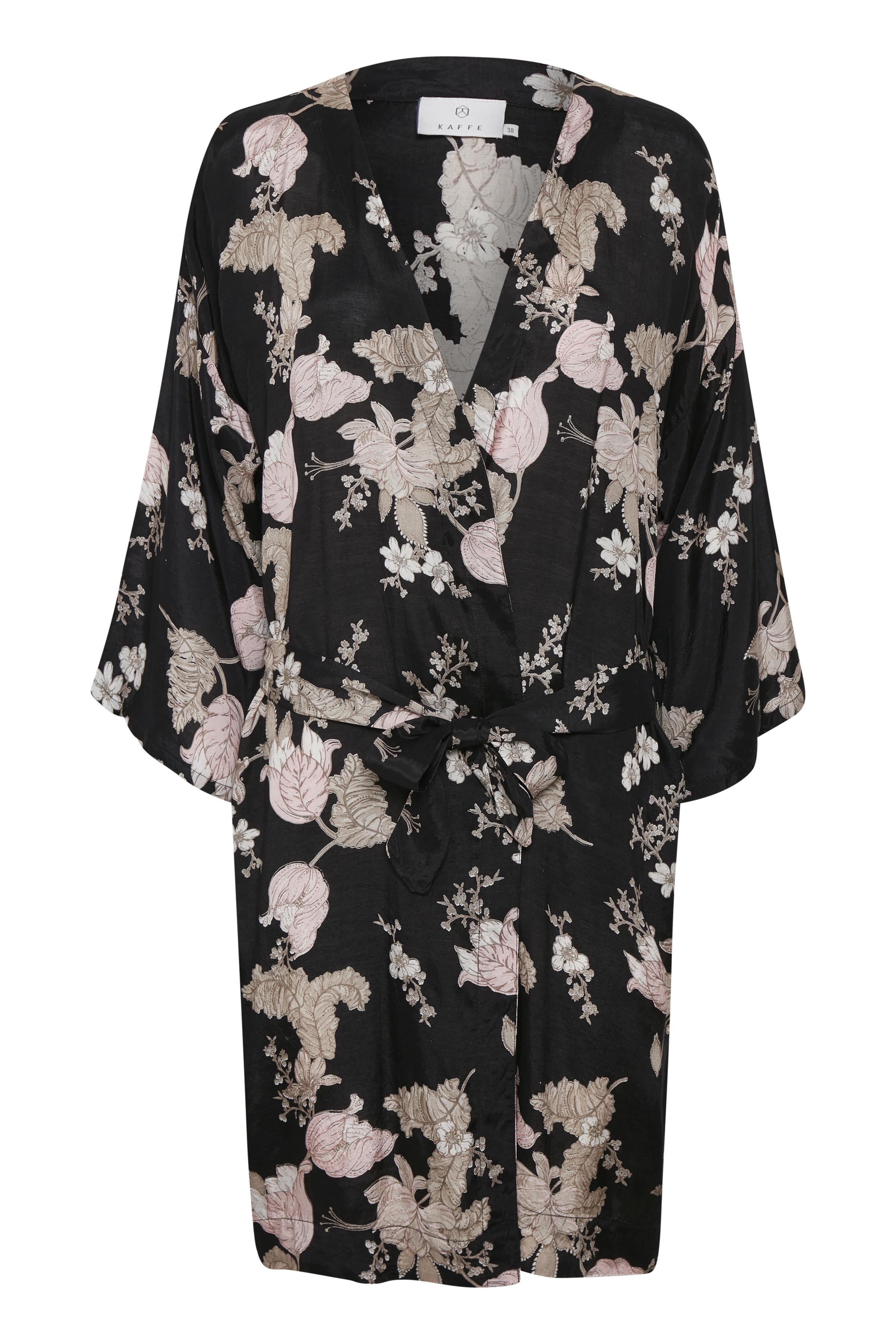 Zwart/lichtzand Kimono van Kaffe – Door Zwart/lichtzand Kimono van maat. 34-46 hier