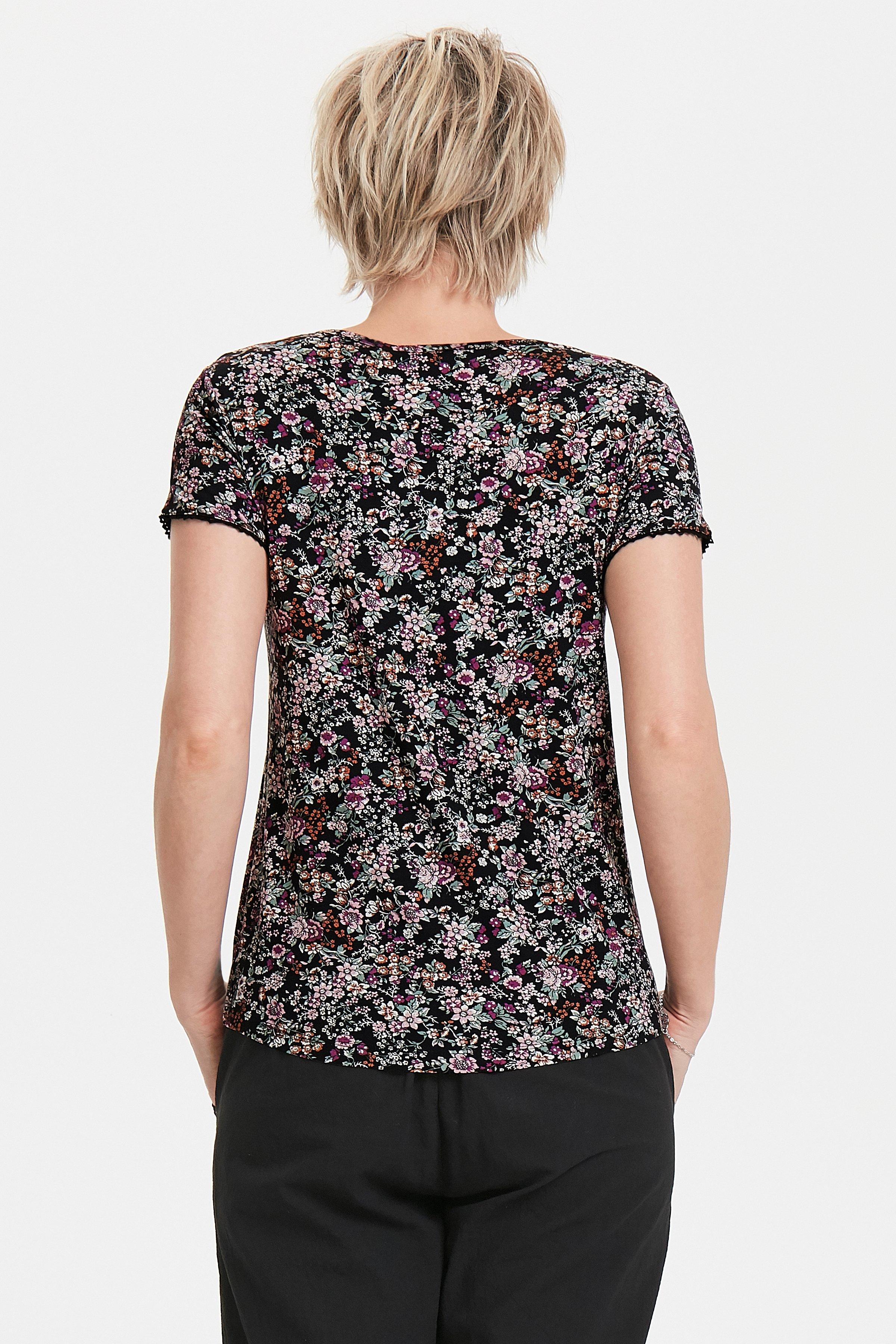 Zwart/paars Korte mouwen shirt  van Bon'A Parte – Door Zwart/paars Korte mouwen shirt  van maat. S-2XL hier