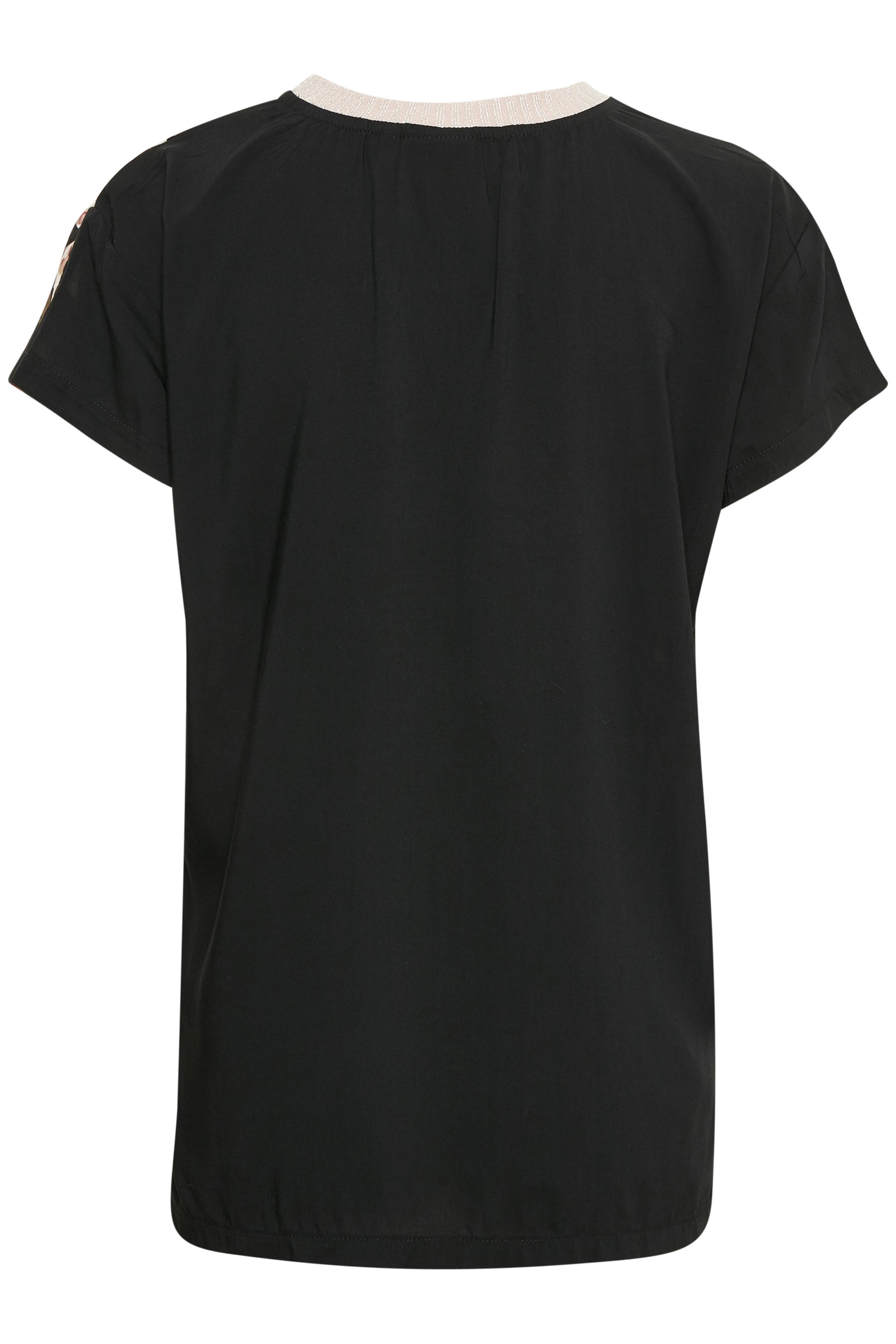 Zwart/roze Blouse met korte mouwen van b.young – Door Zwart/roze Blouse met korte mouwen van maat. 34-46 hier