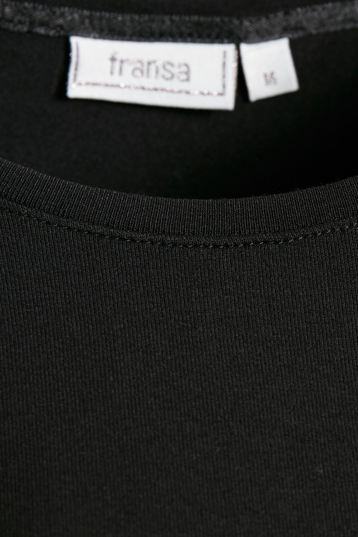 Zwart T-shirt van Fransa – Door Zwart T-shirt van maat. XS-XXL hier