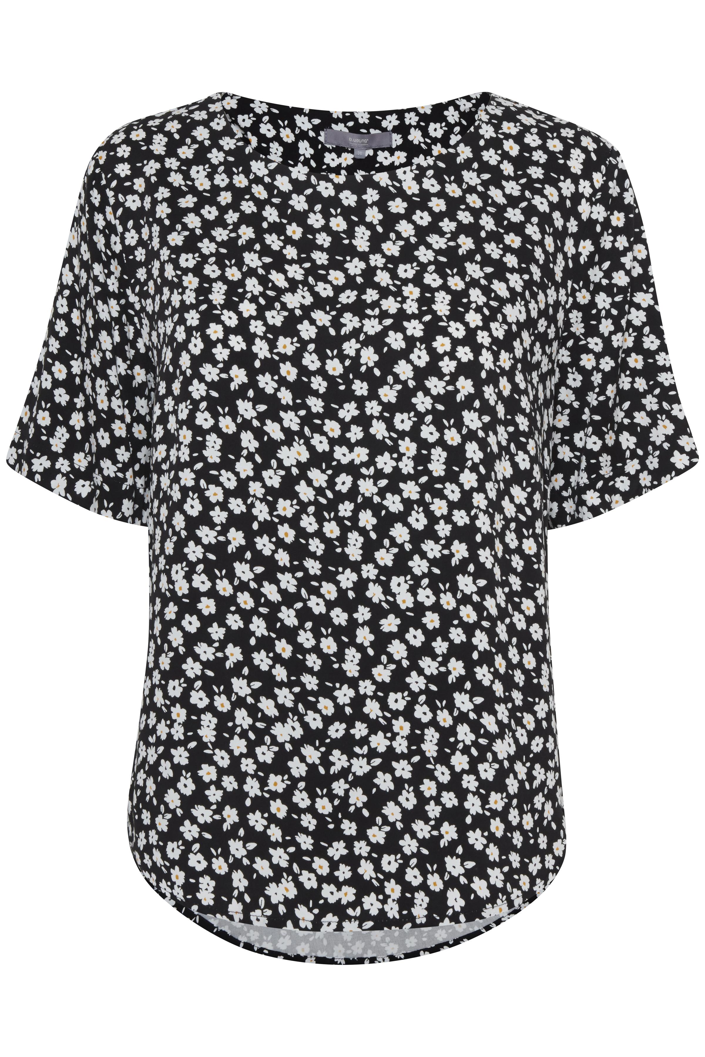 Zwart/wit Korte mouwen shirt  van b.young – Door Zwart/wit Korte mouwen shirt  van maat. 34-46 hier