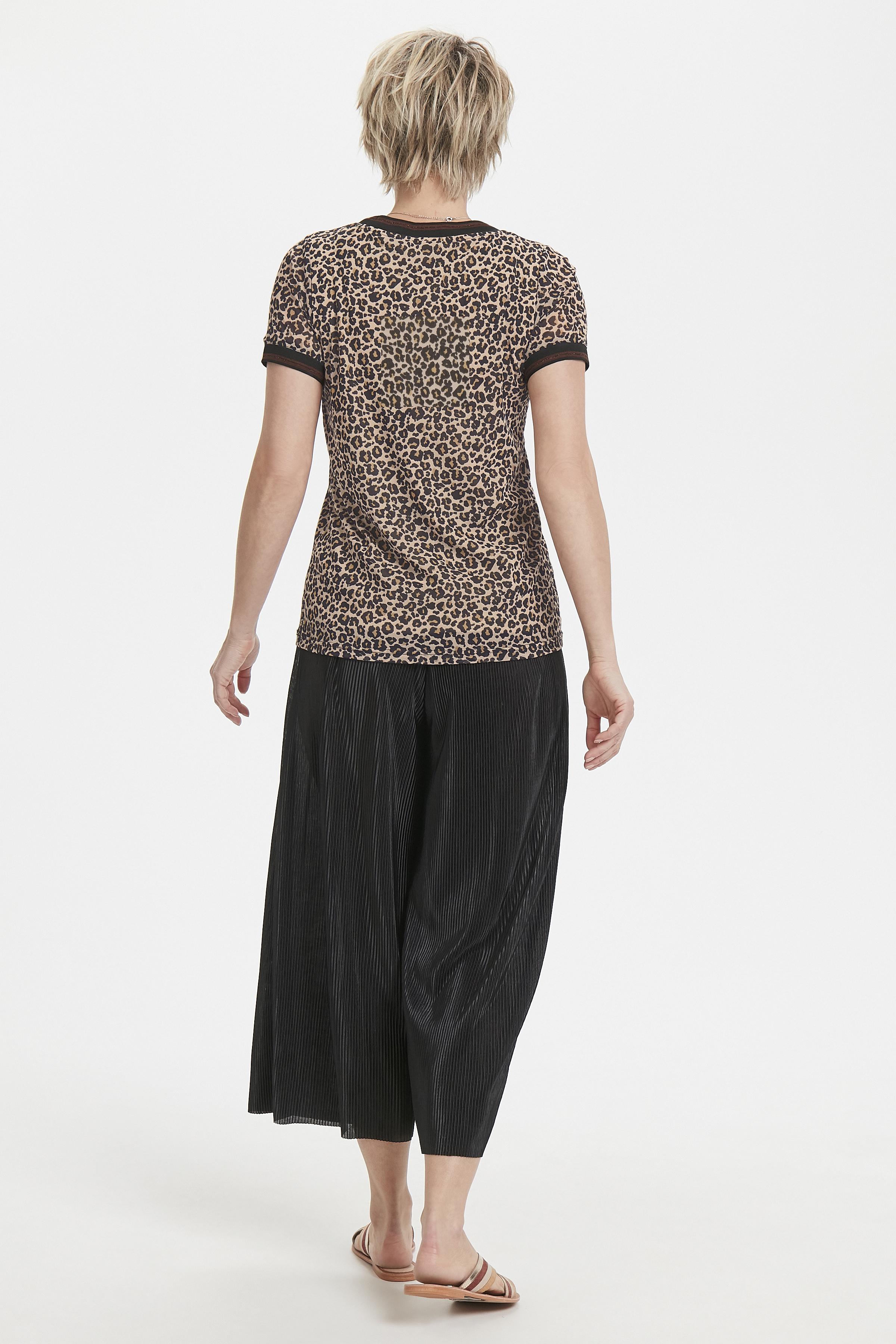 Zwart/zand Korte mouwen shirt  van Bon'A Parte – Door Zwart/zand Korte mouwen shirt  van maat. S-2XL hier
